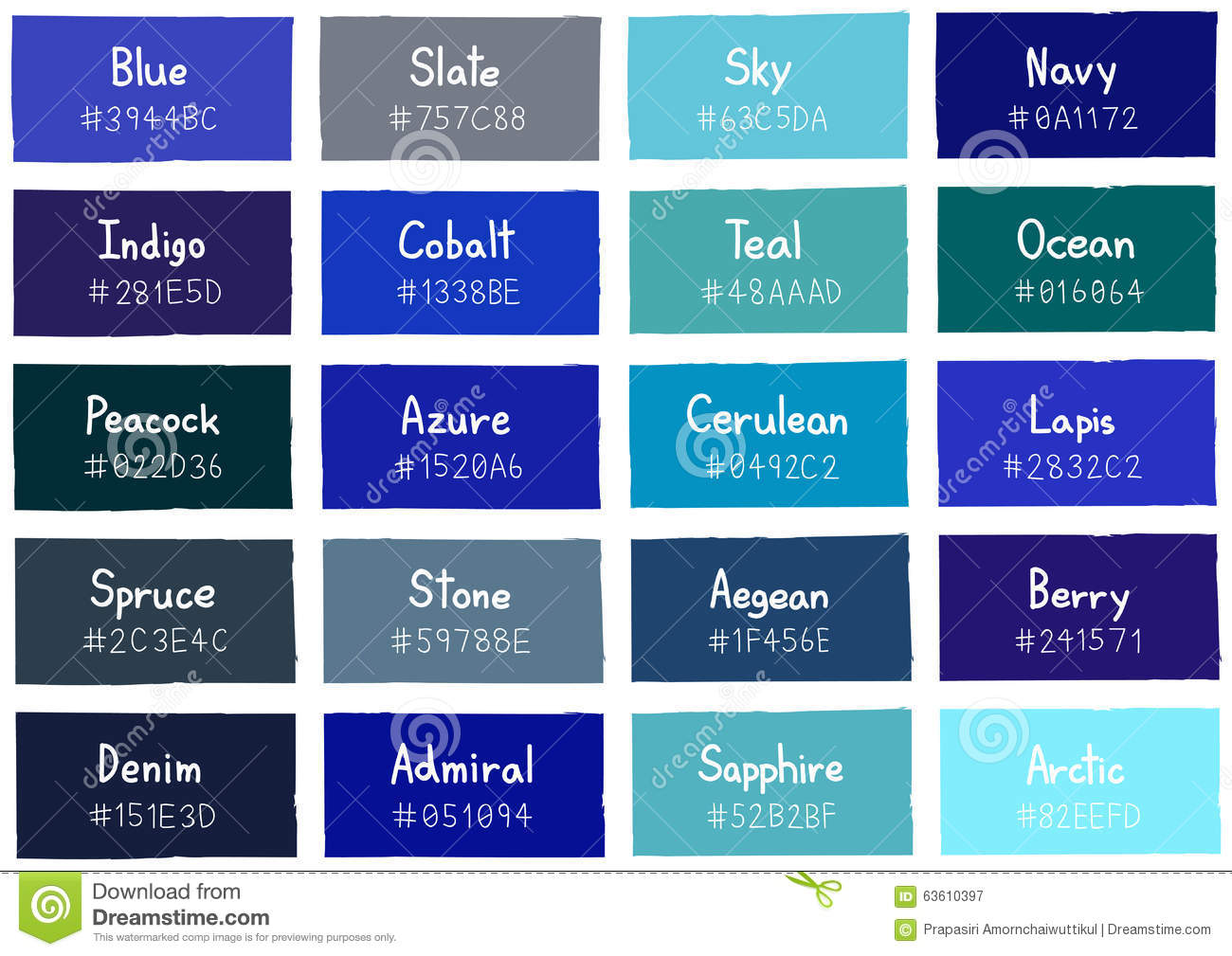 Blue Tone Color Shade Background with Code and Name
