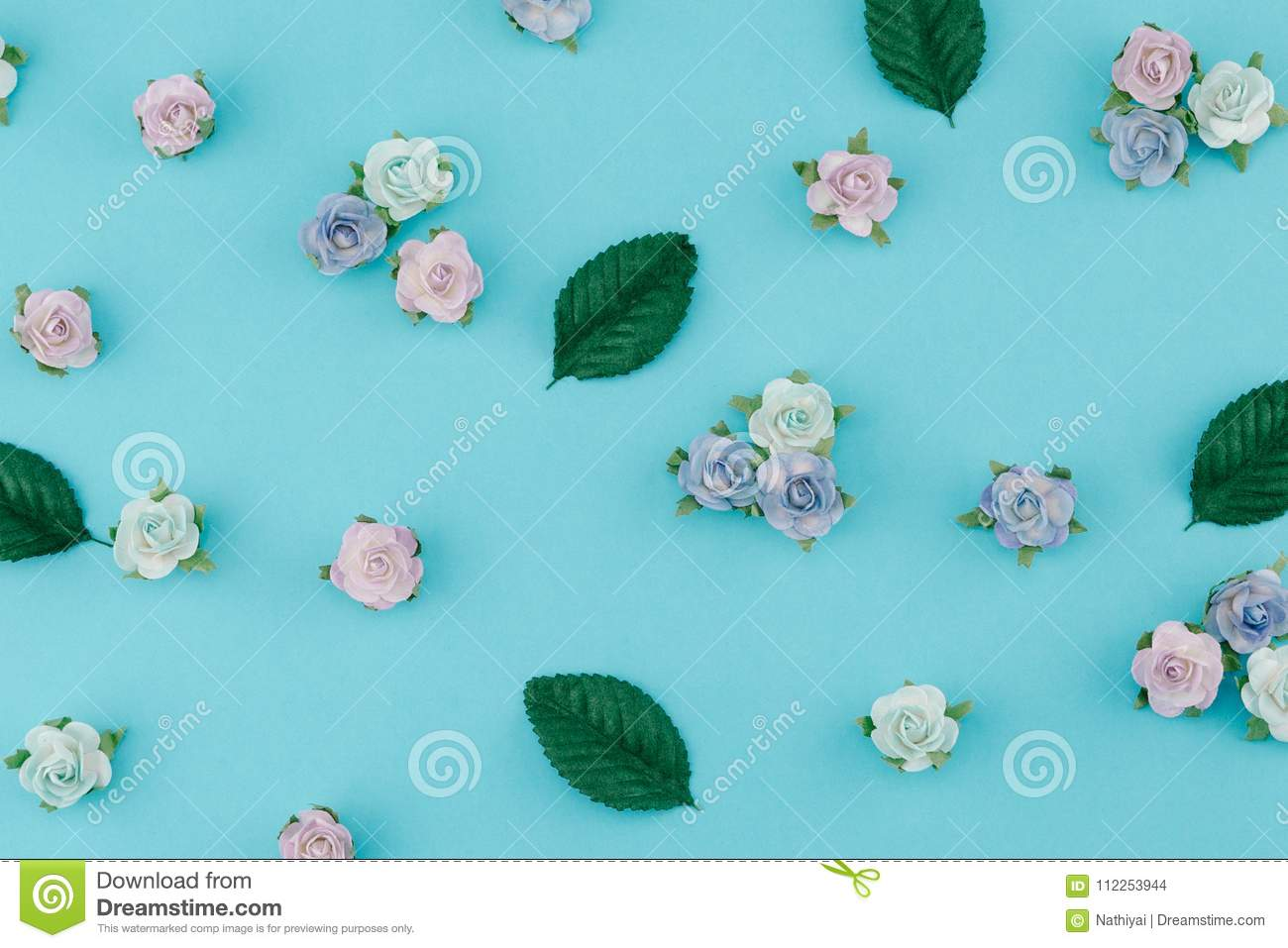 Blue Tone Paper Flowers And Green Leaves Pattern Stock Photo Image