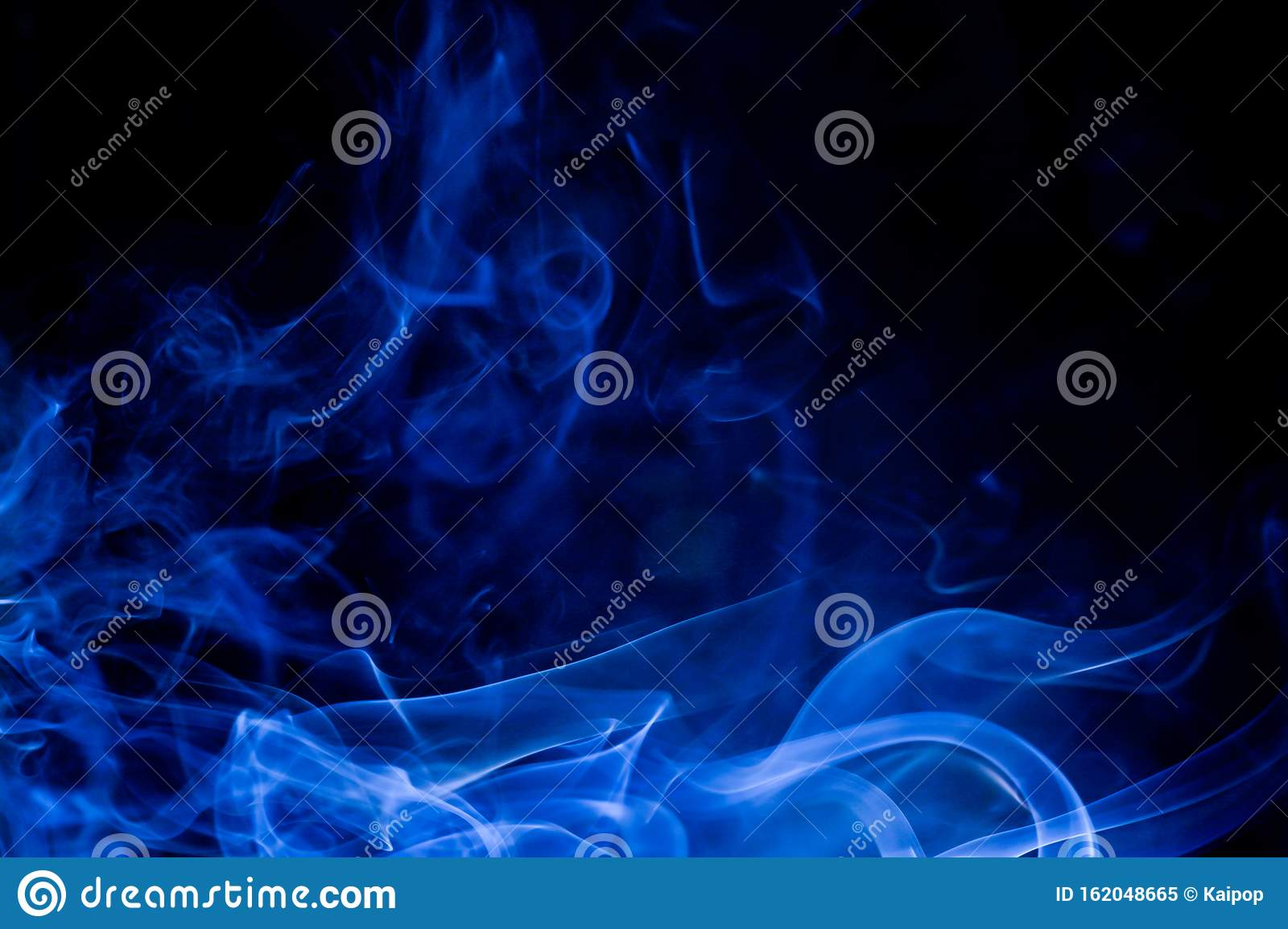 Blue toxic fumes movement on a black background
