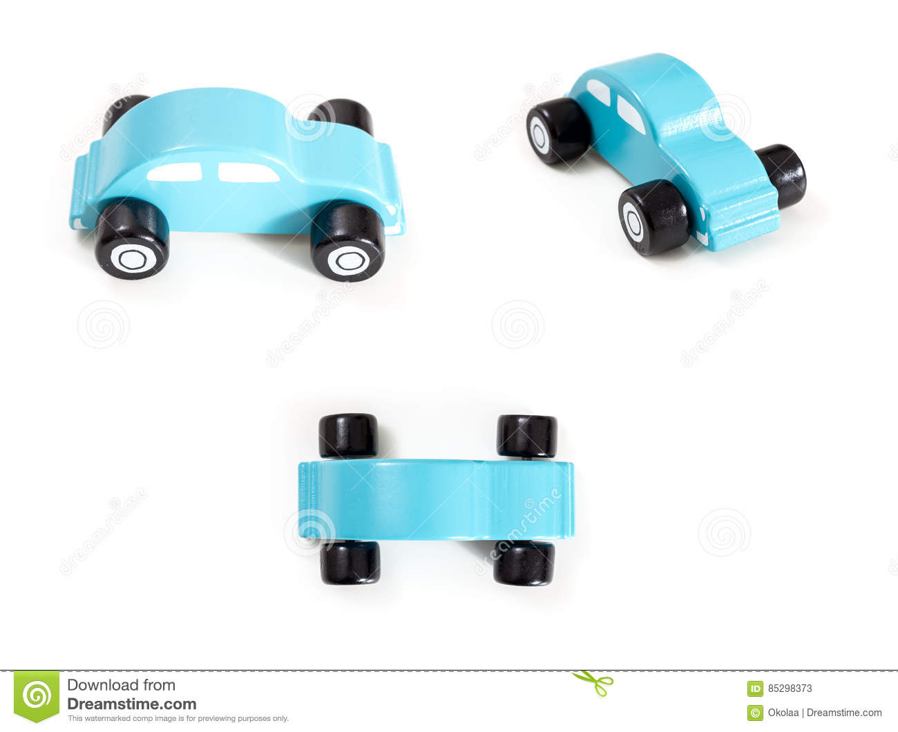 A Blue Toy Car Front Side And Top View Stock Image Image Of
