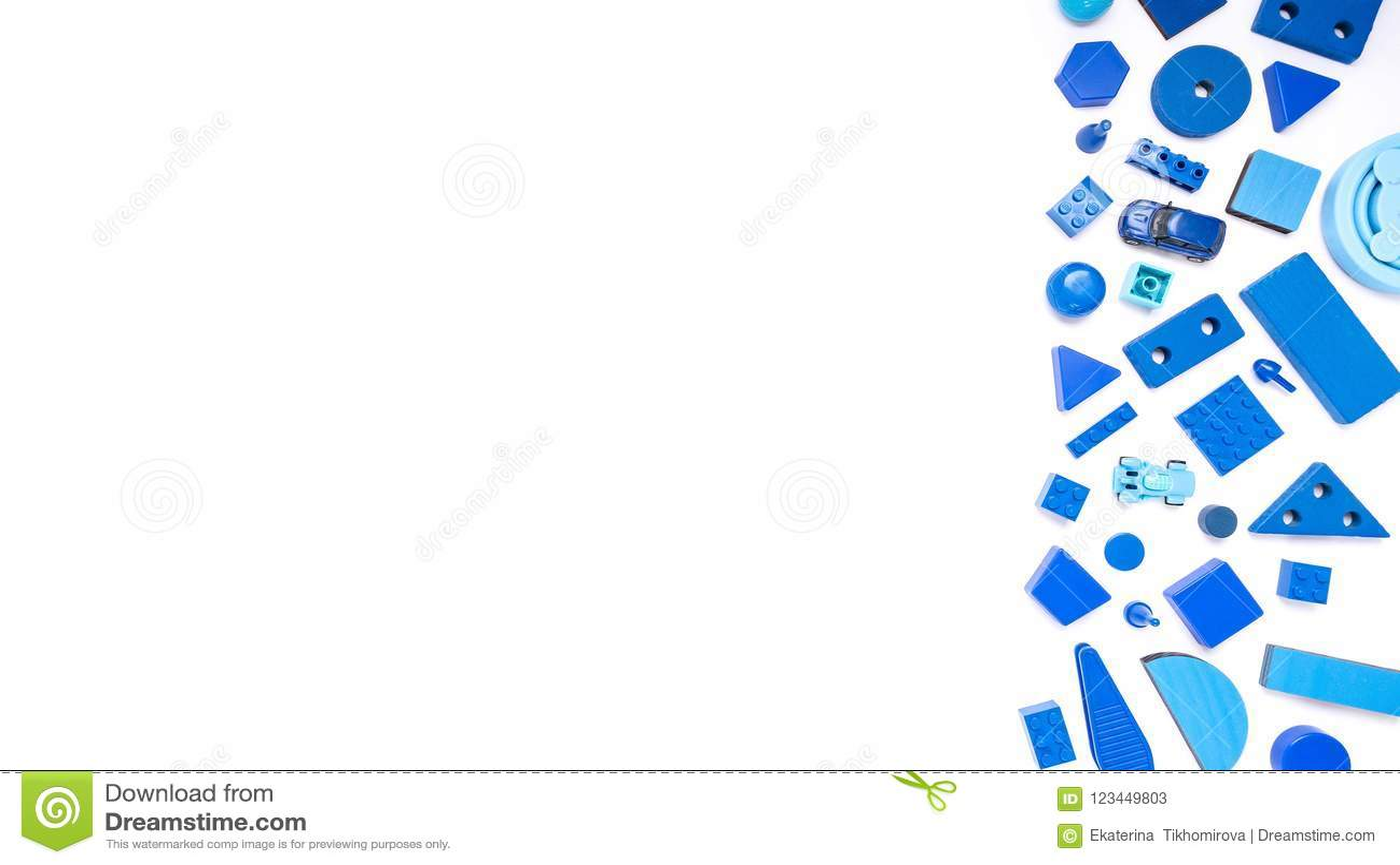 Blue Toys Background Top View On White. Kids Toys Frame On Whit ...