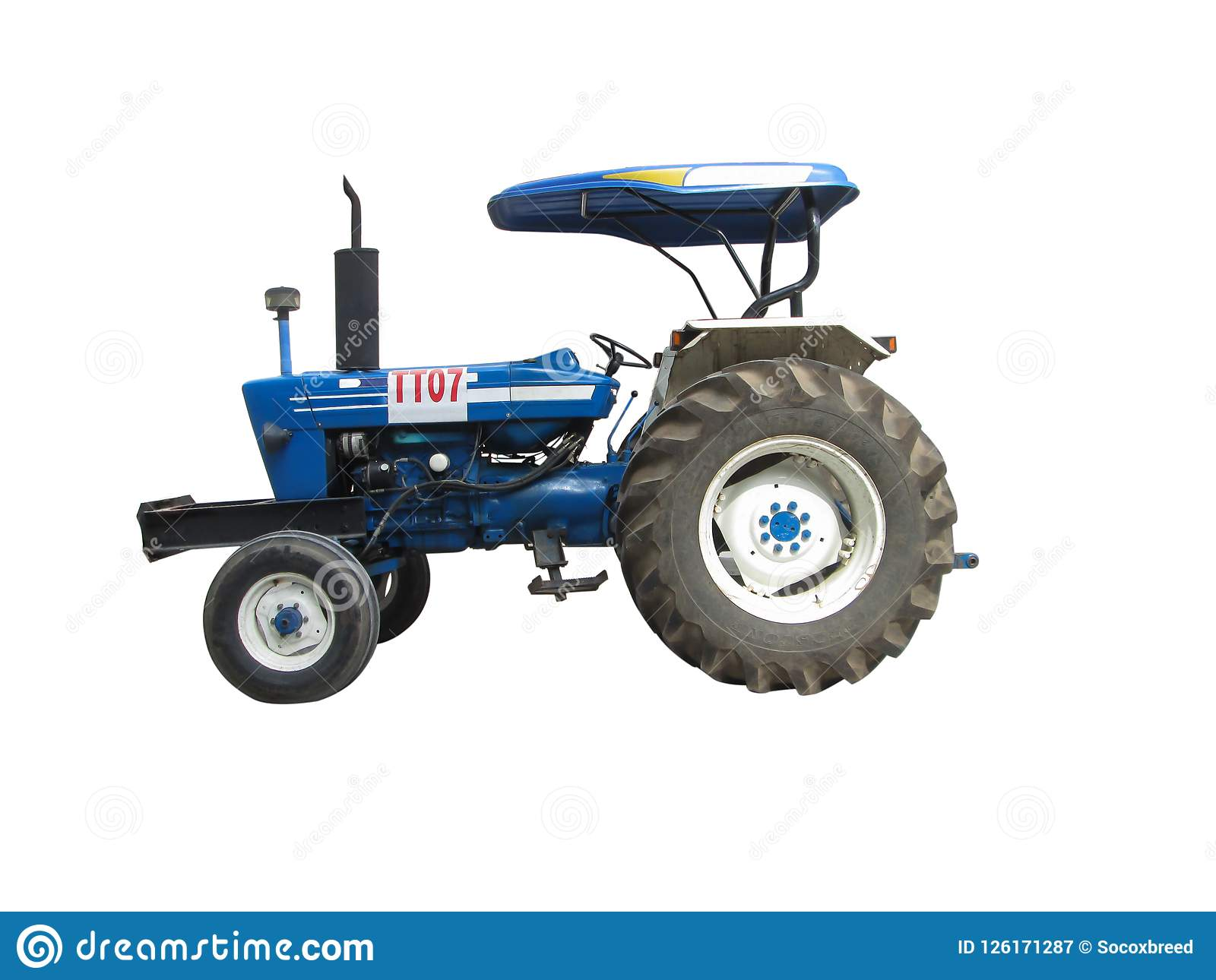 A blue tractor with a sun roof protect,have front wheels, a larger rear wheels on white isolated background