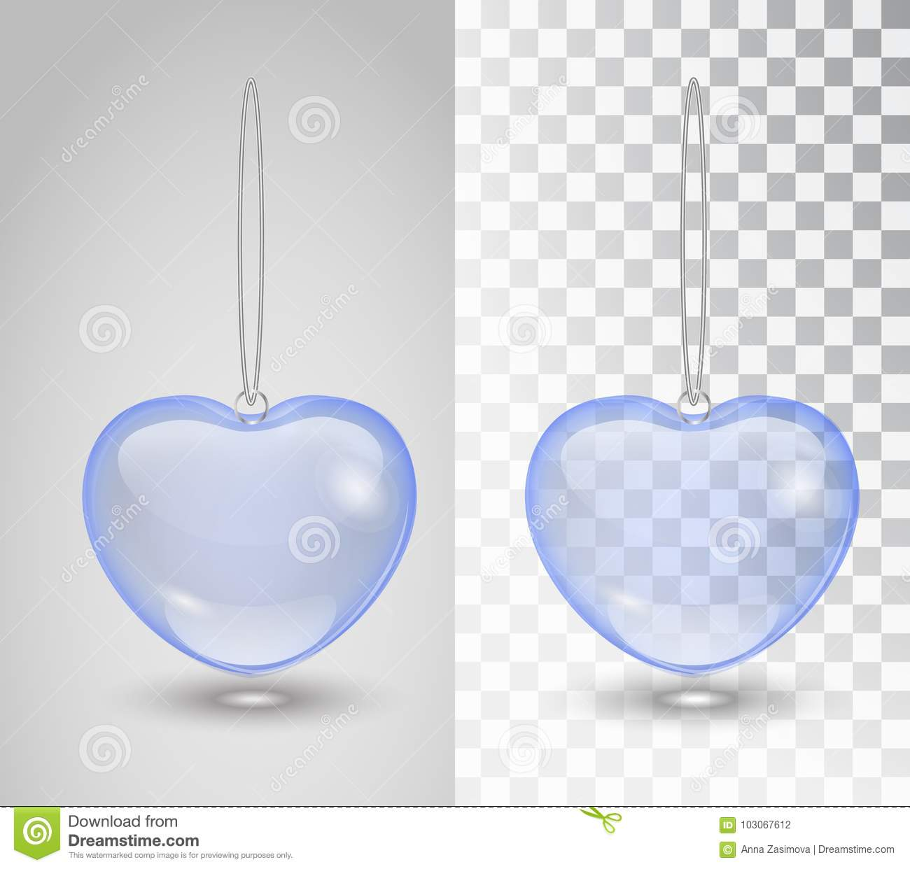 Blue Transparent Heart Isolated On Transparent Checkered Background