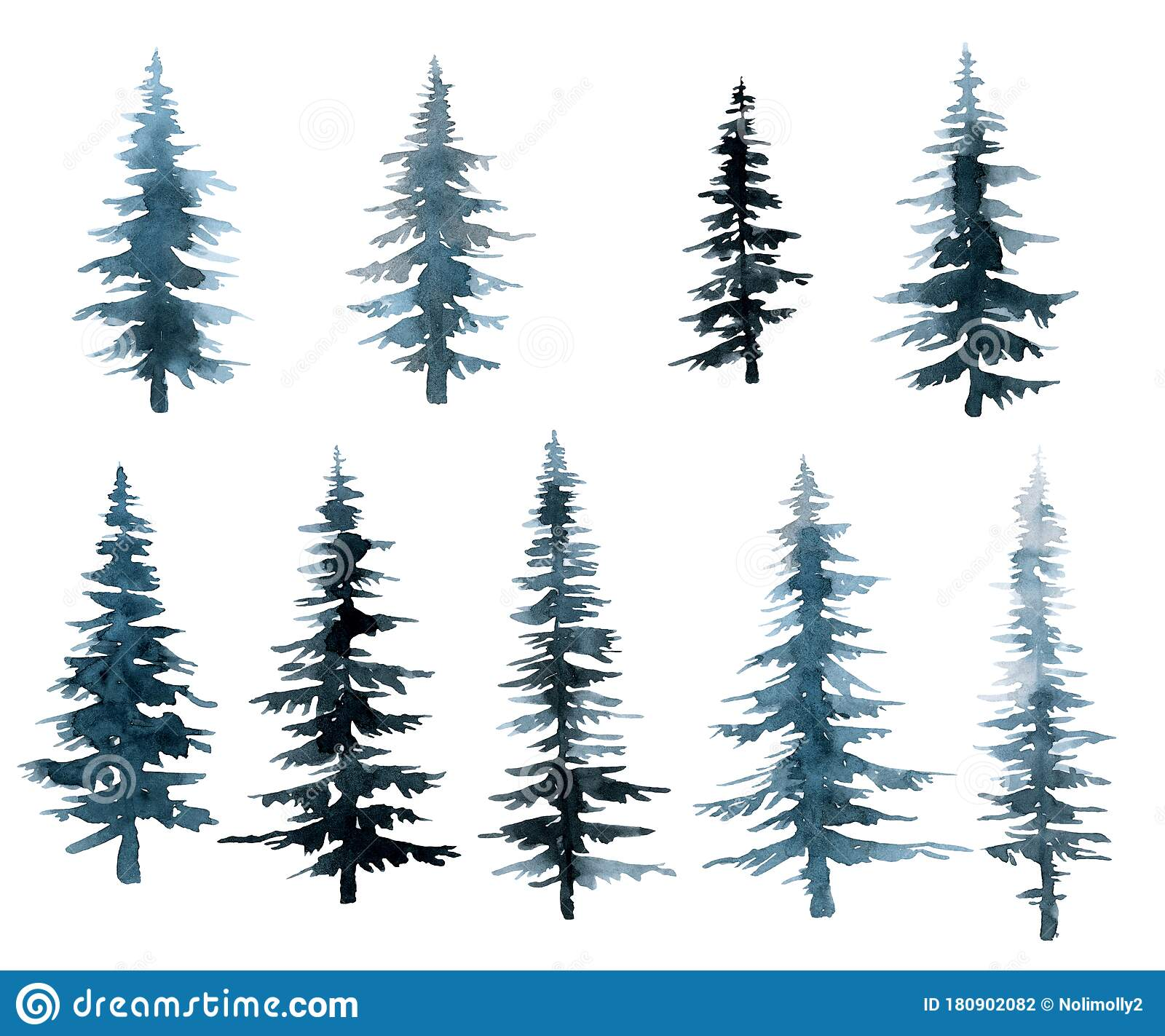 Blue And Blue Trees Spruce Forest Watercolor Drawing Hand Stock Illustration Illustration Of Blue Vintage 180902082
