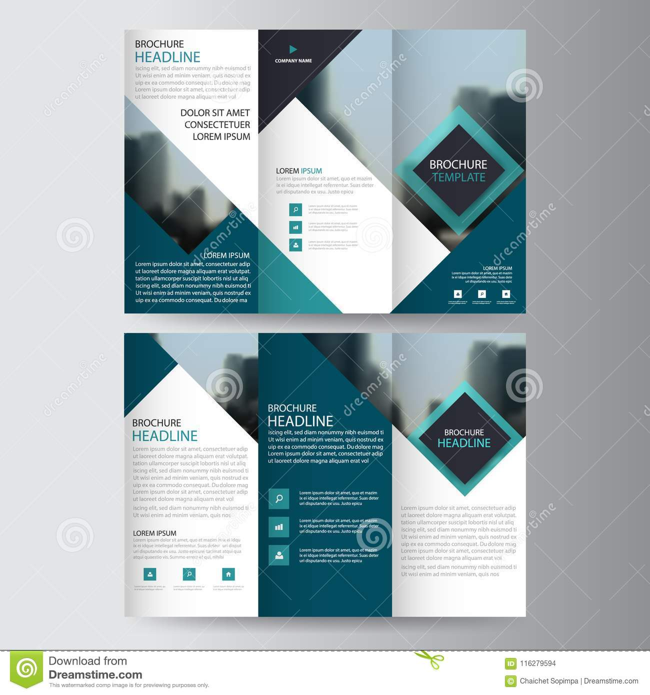 Blue triangle business trifold Leaflet Brochure Flyer report template vector minimal flat design set, abstract three fold