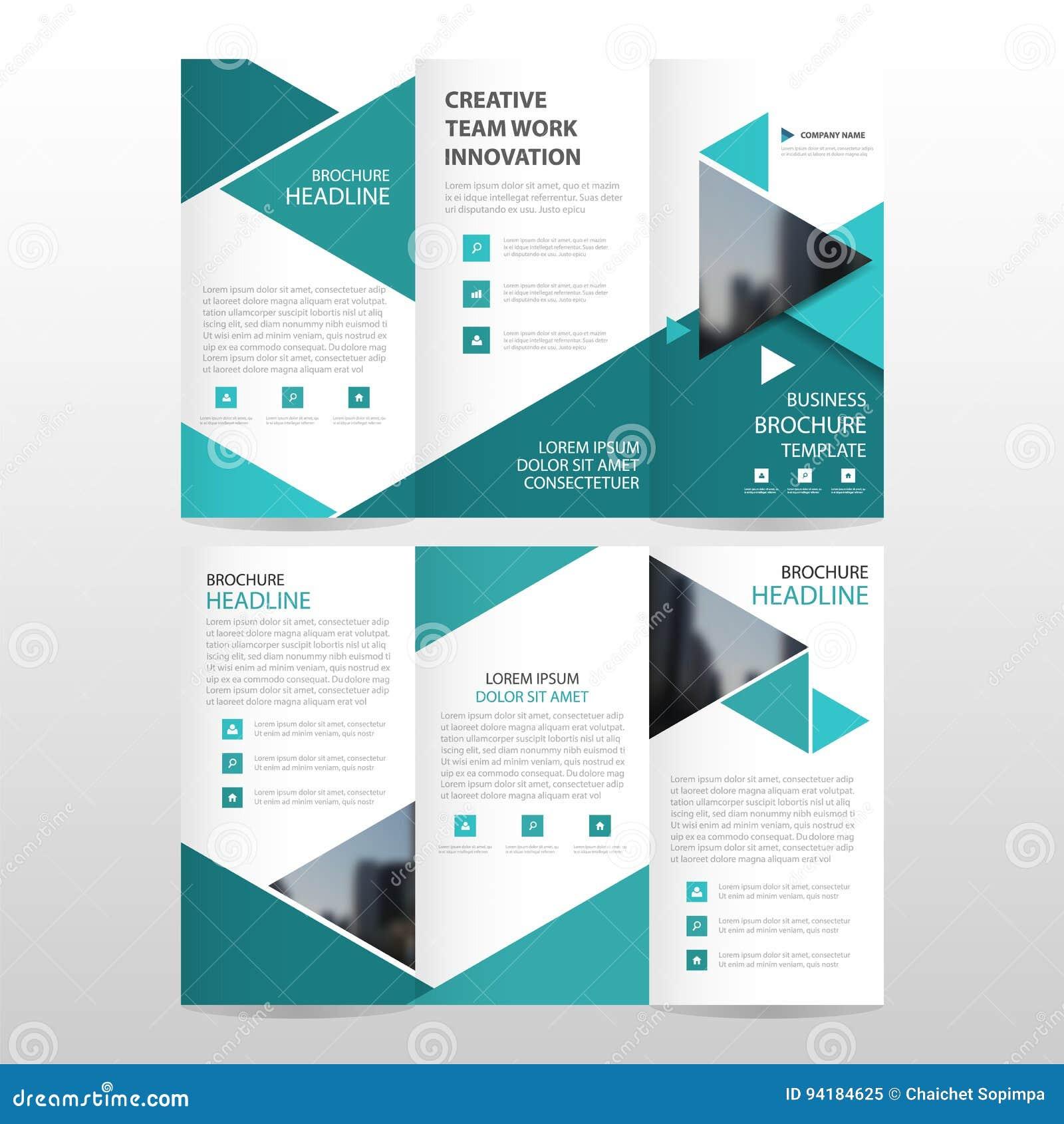 Blue triangle business trifold leaflet brochure flyer for 6 fold brochure template