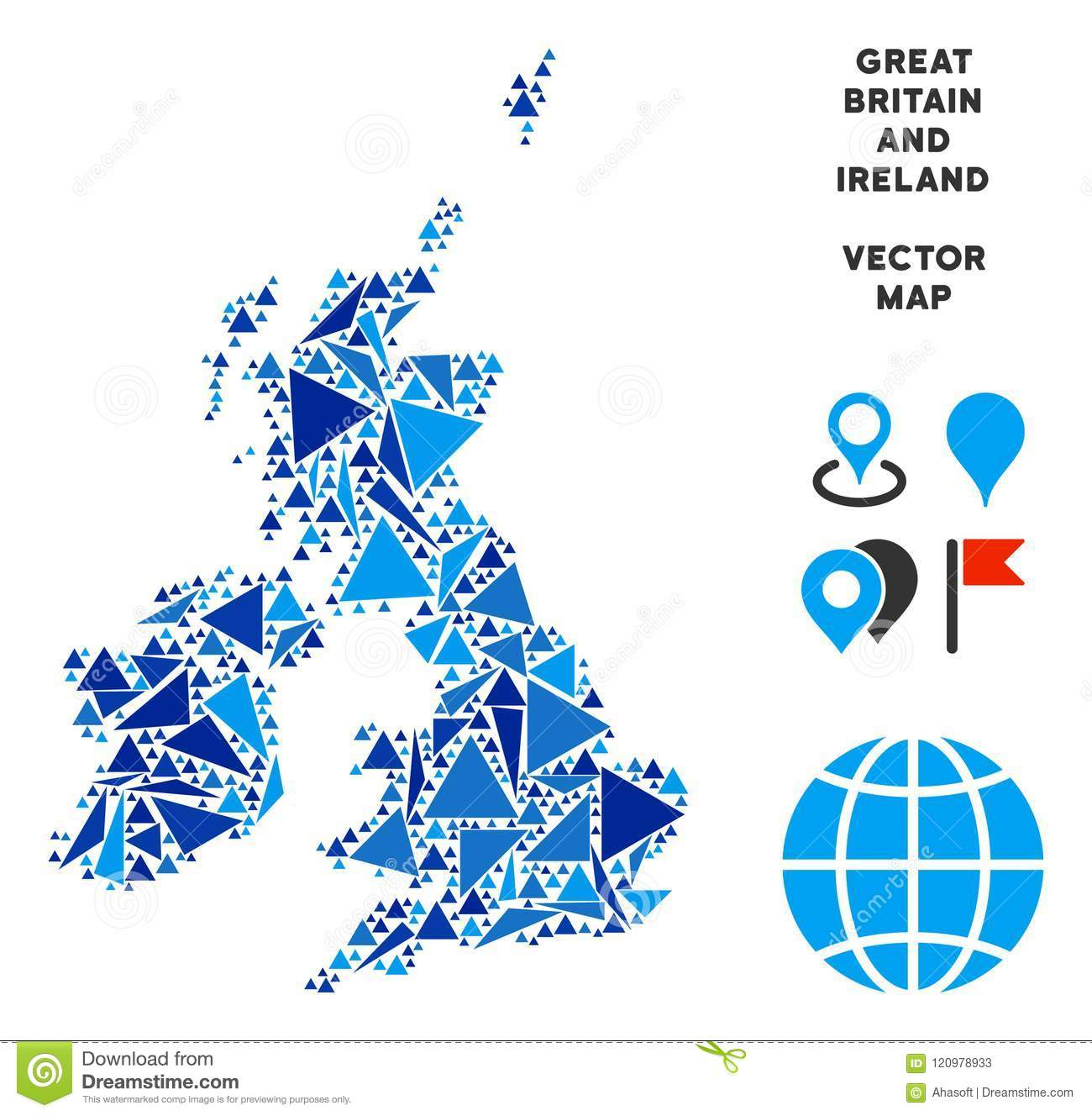 Britain And Ireland Map.Blue Triangle Great Britain And Ireland Map Stock Vector