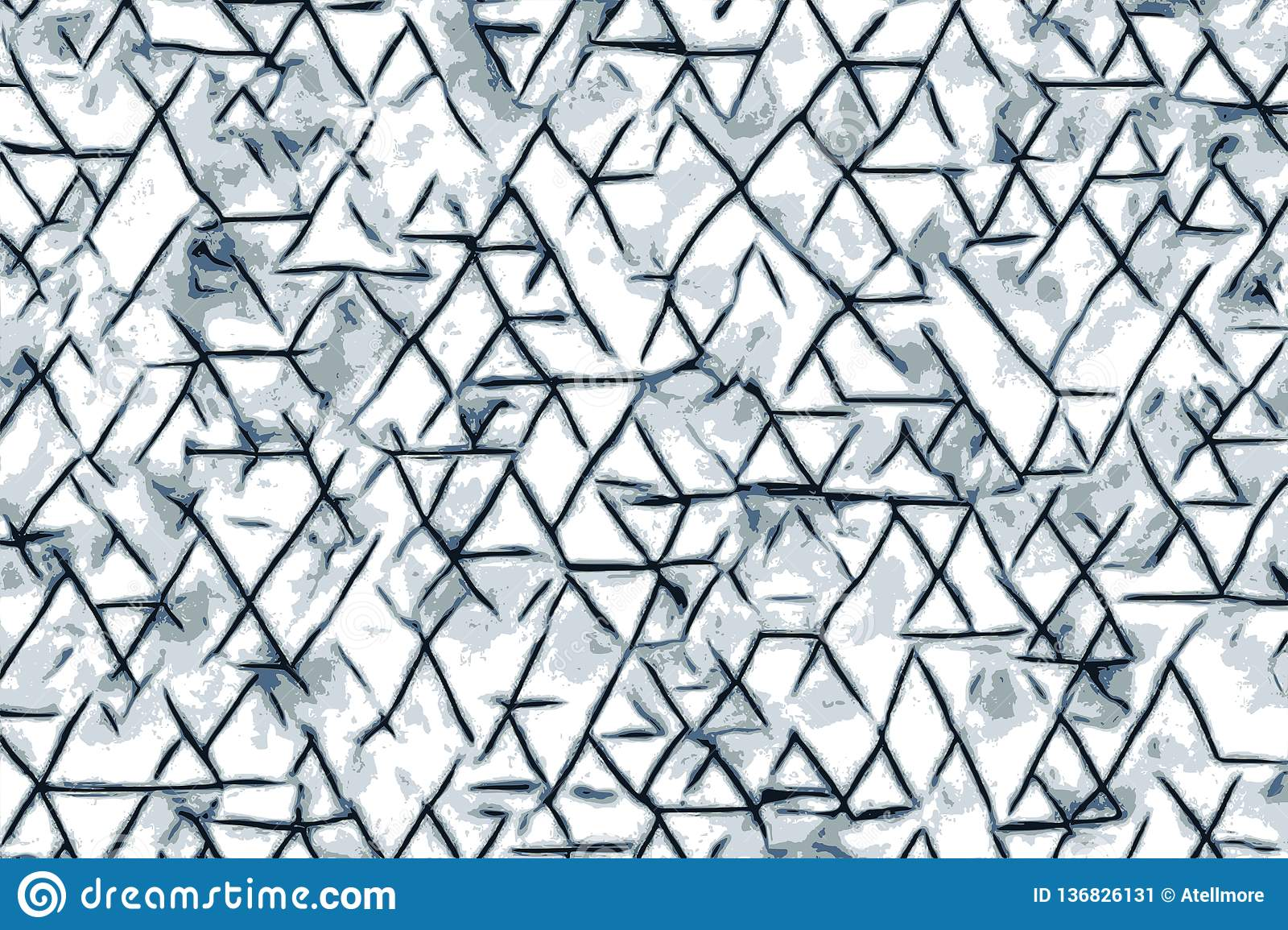 Blue triangle shapes and abstract drawings for a background