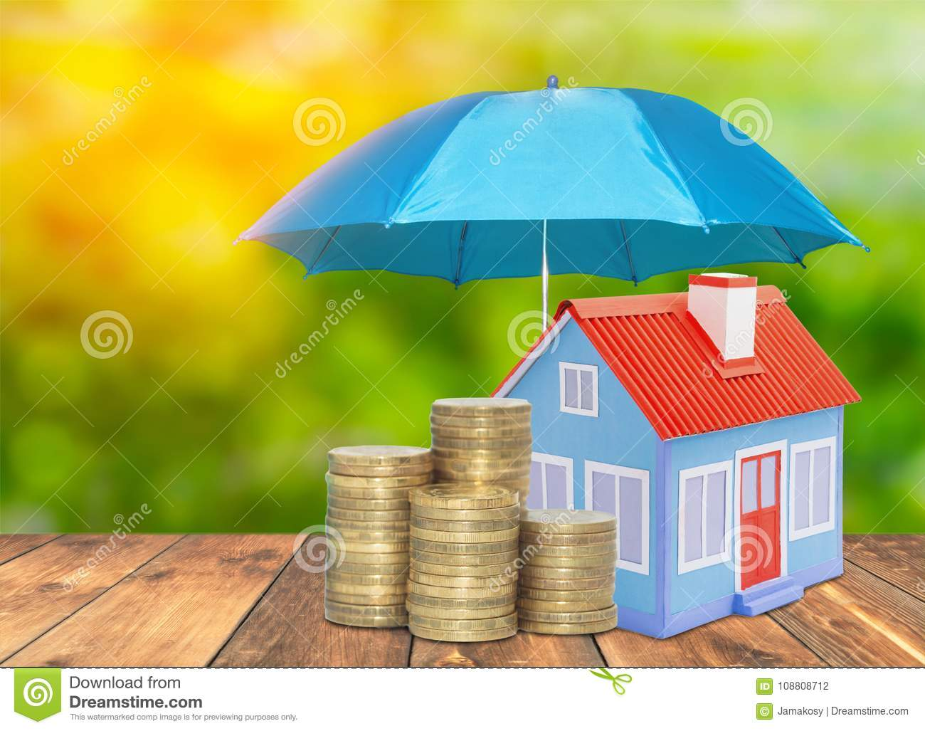 Umbrella protection House coins savings a business. Protection money insurance home concept