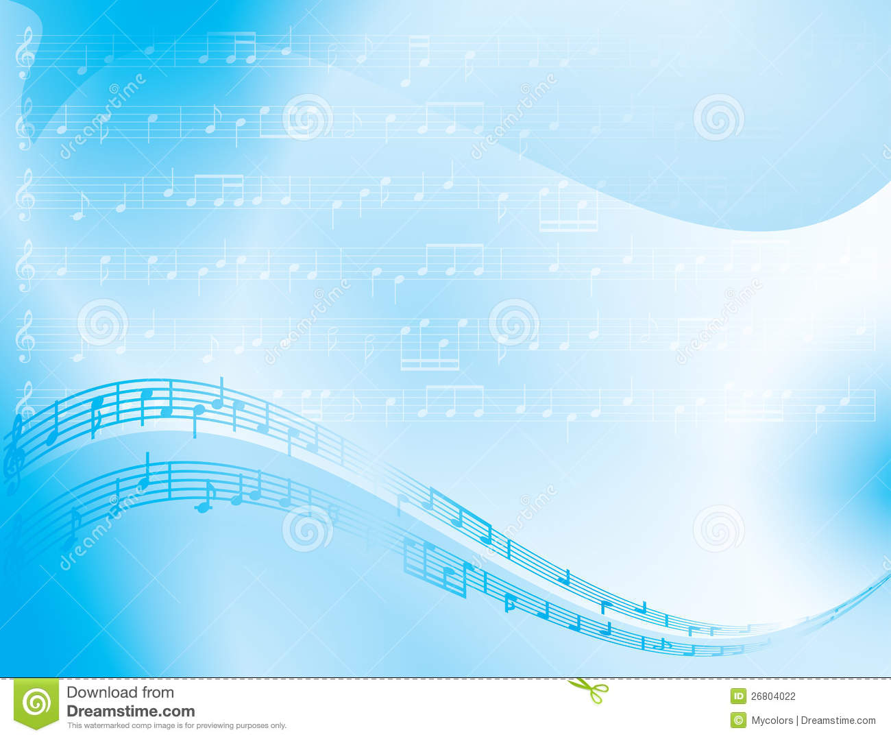 Blue Vector Abstract Background - Music Notes Stock Photography ...