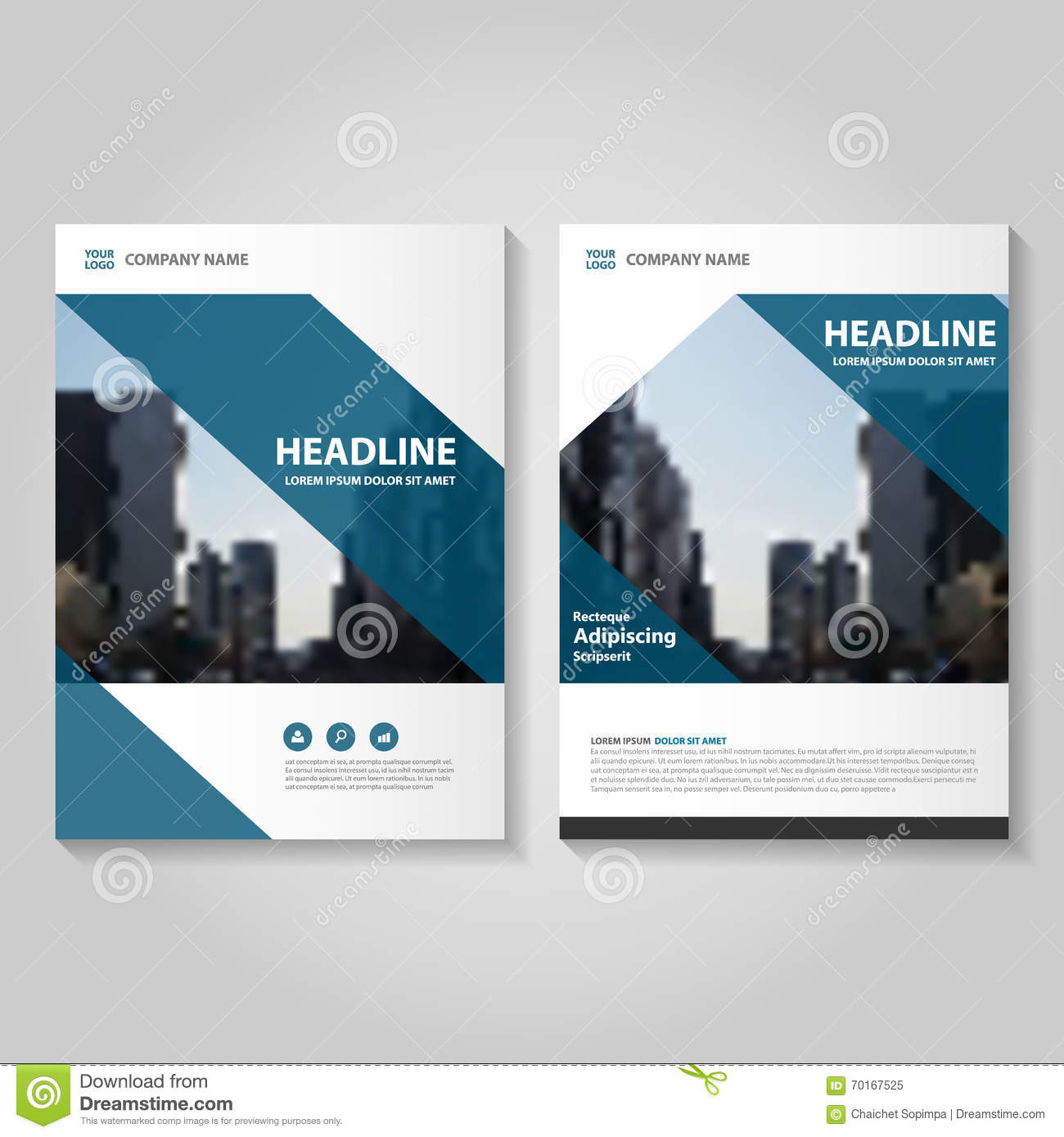 brochure presentation template - blue vector annual report leaflet brochure flyer template
