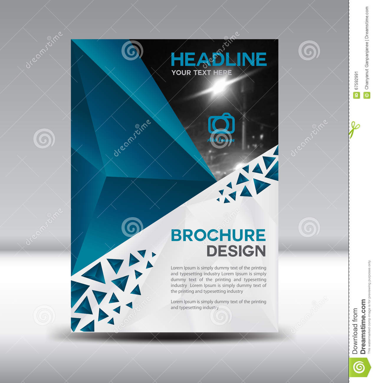 Vector Brochure Flyer Magazine Folder T Shirt Cover: Blue Vector Brochure Flyer And Cover Template Polygon