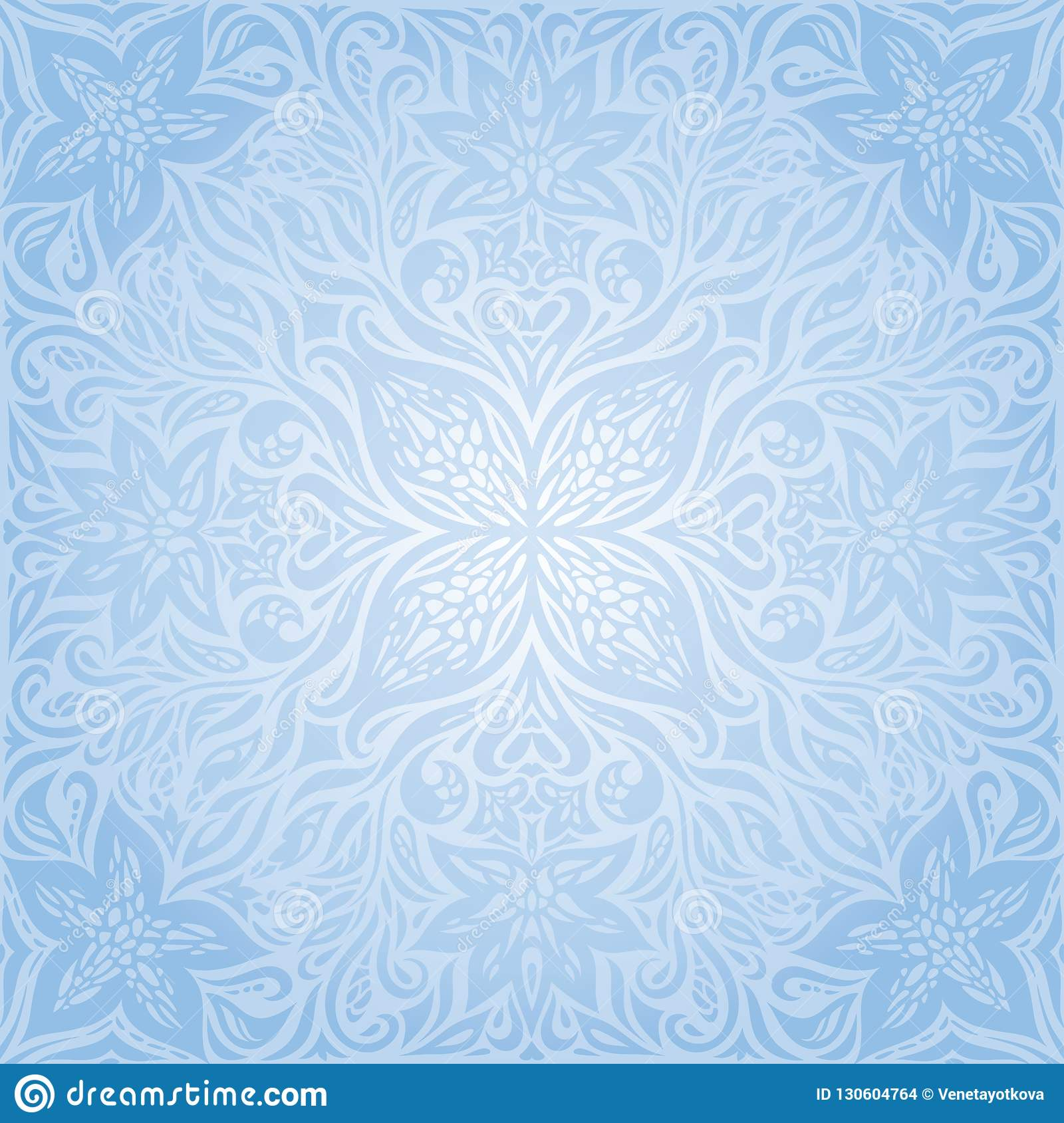 Blue Vector Decorative Flowers Background Floral Ornamental