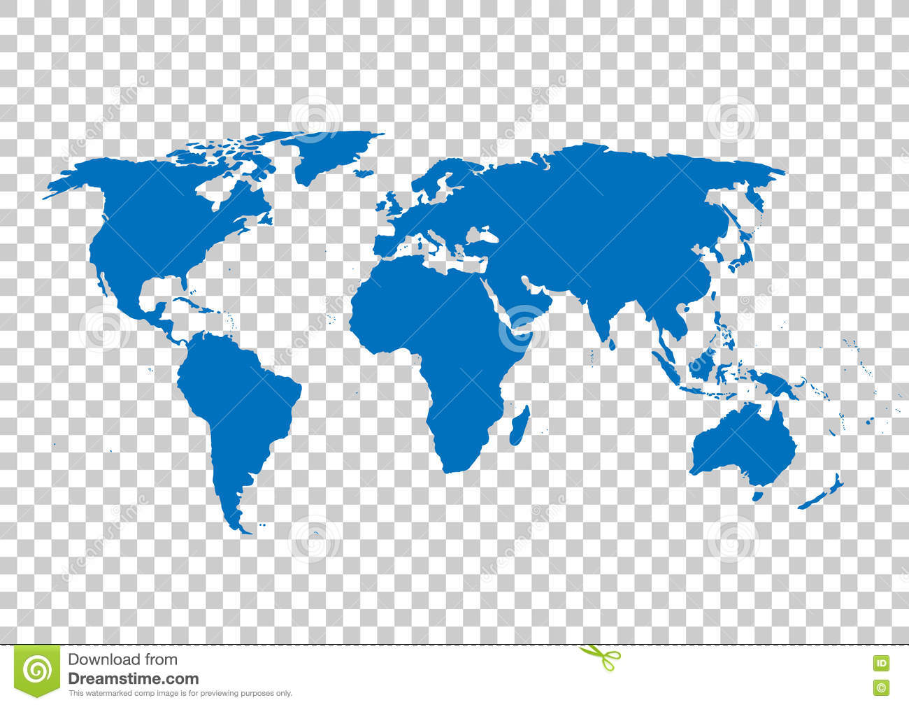Blue Vector Map. World Map Blank. World Map Template.World Map On ...