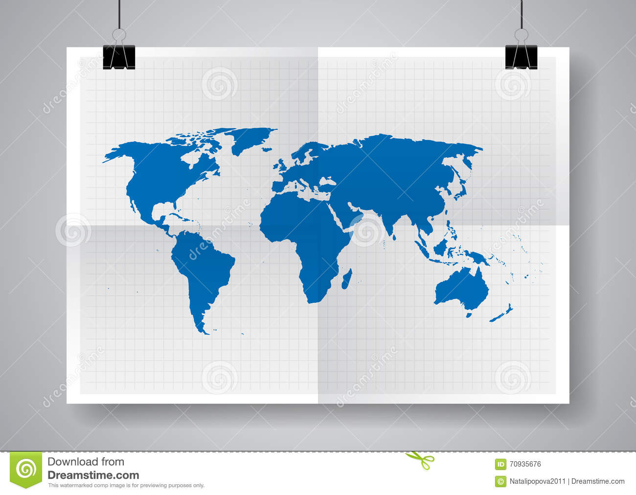 Picture of: Blue Vector Map World Map Template Twice A Folded Poster With Clamps Stock Vector Illustration Of Education Africa 70935676
