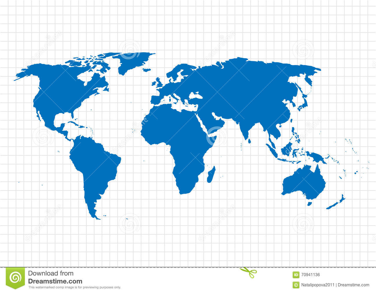 Blue Vector Map. World Map Template.World Map On The Background Of The  Grid. Vector Illustration.