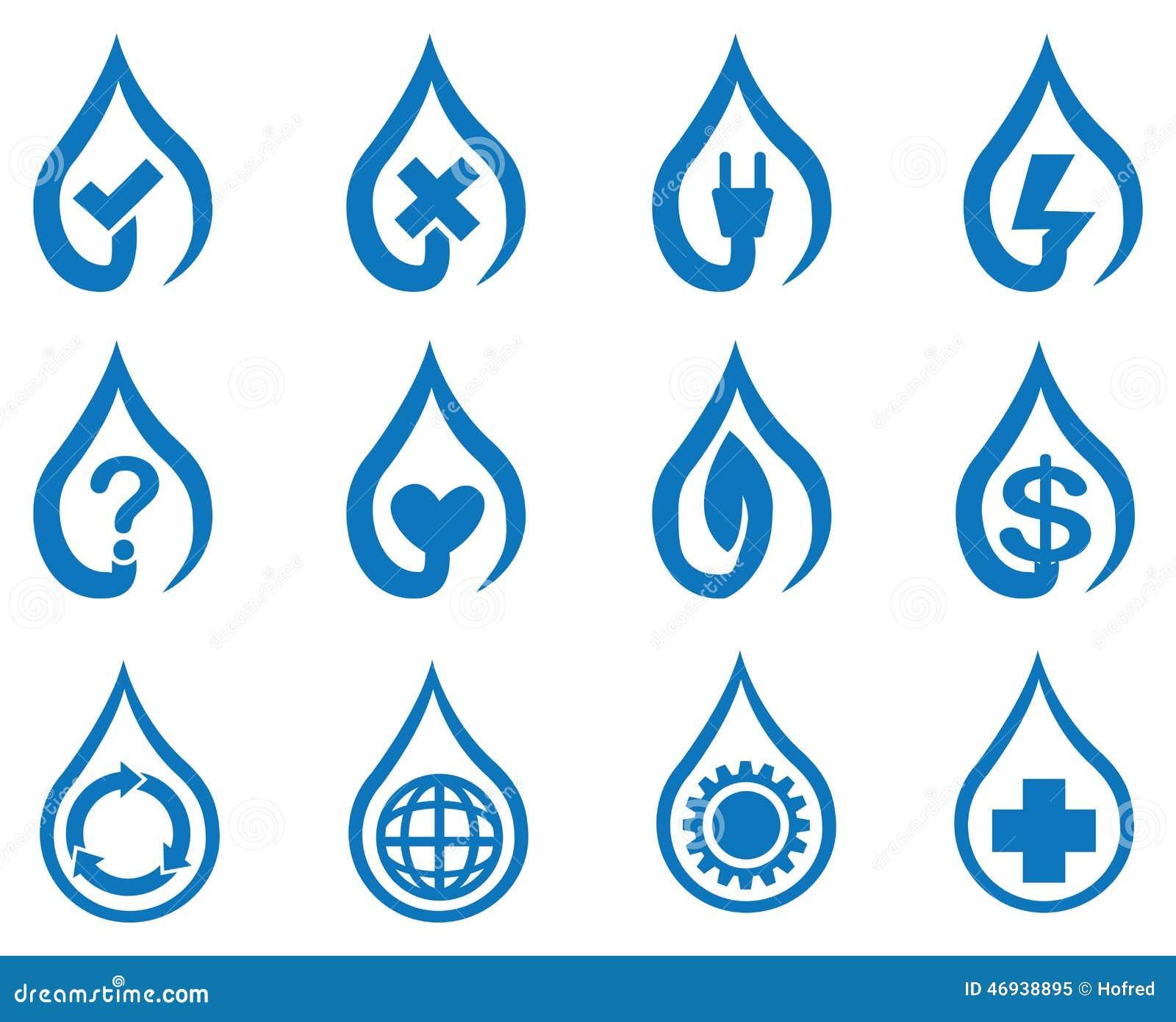 blue vector water drop symbol icon set stock vector