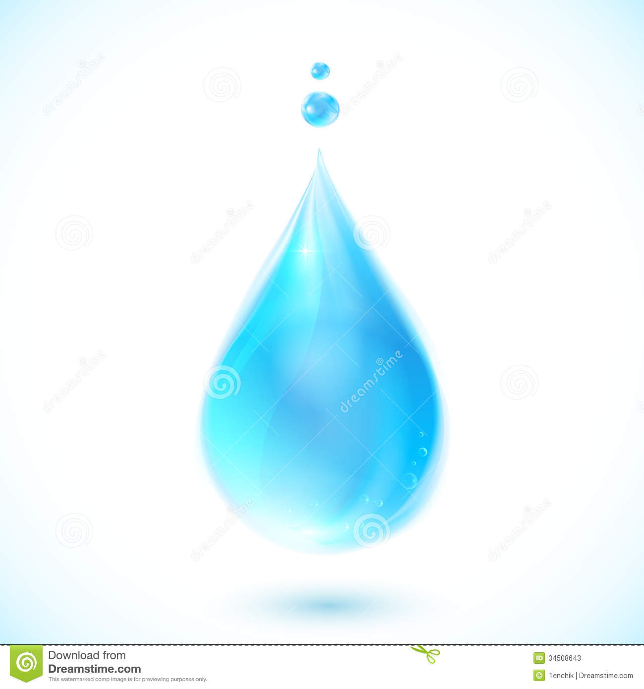 Blue Vector Water Drop On White Background Stock Vector ...