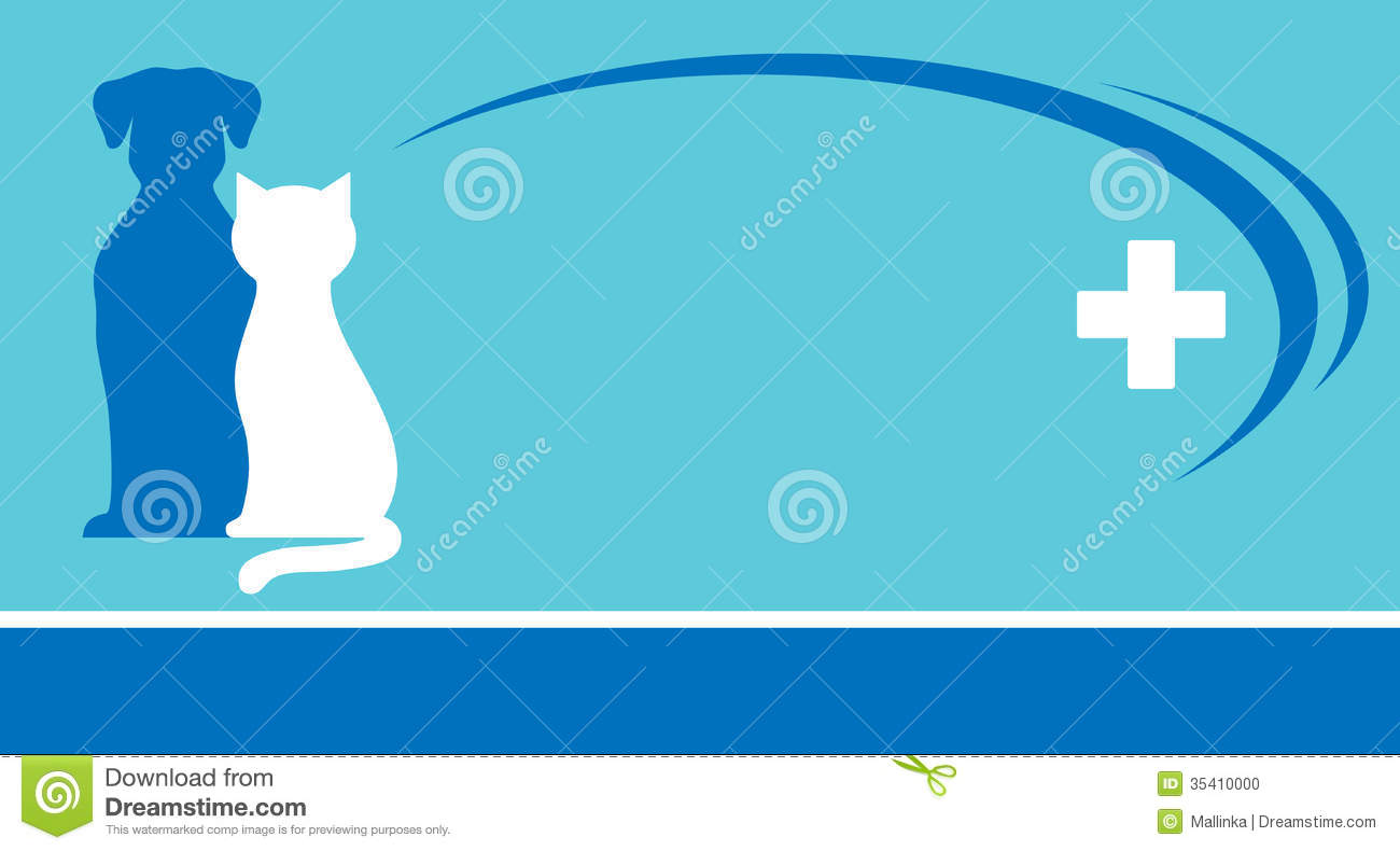blue veterinarian background and pets silhouettes stock