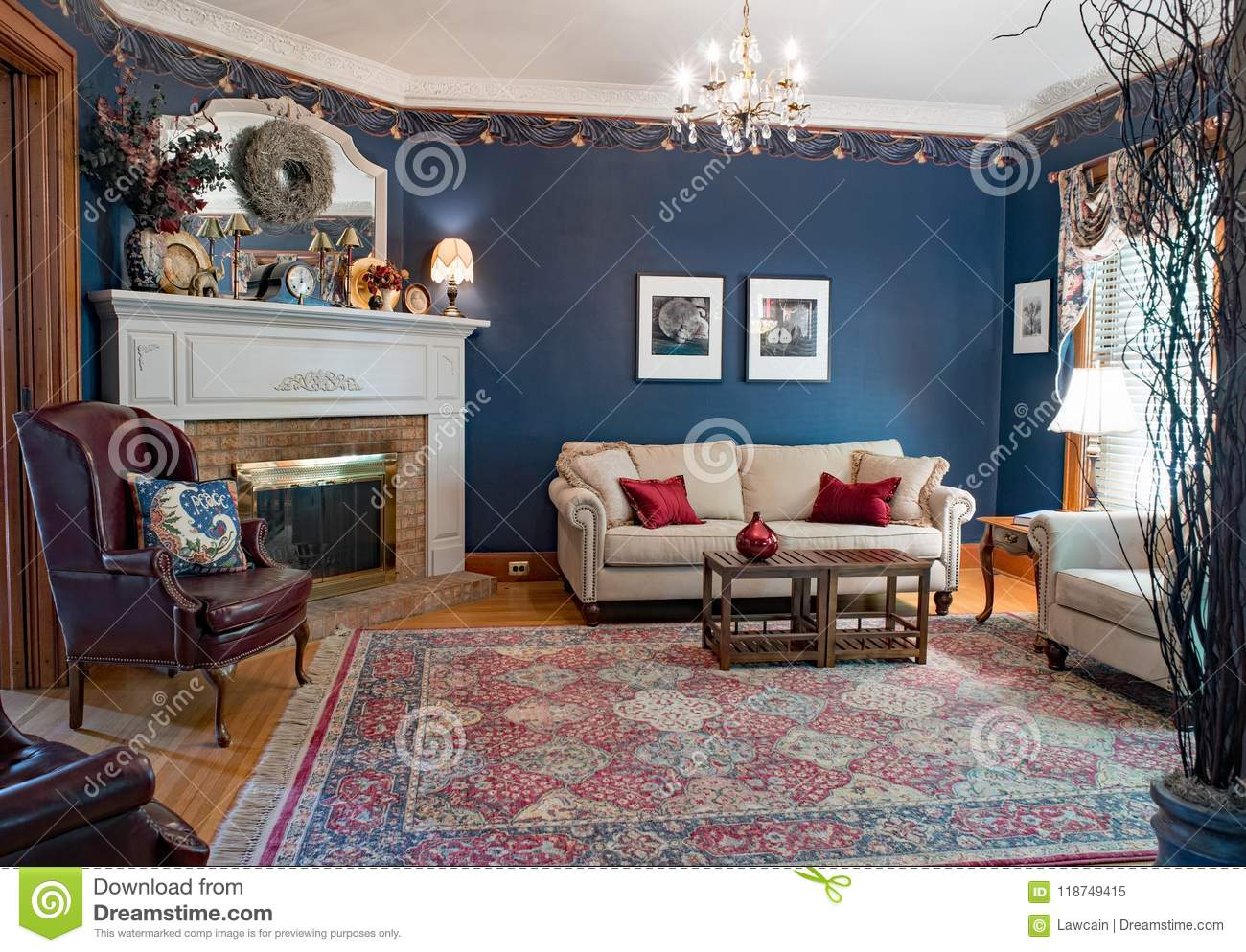 Blue Victorian Living Room Editorial Image Image Of Blue 118749415