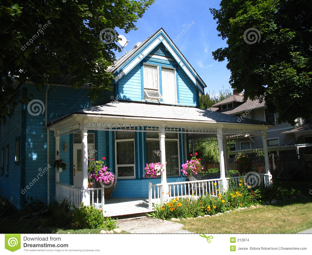 Blue Victorian Style House Stock Images Image 212874