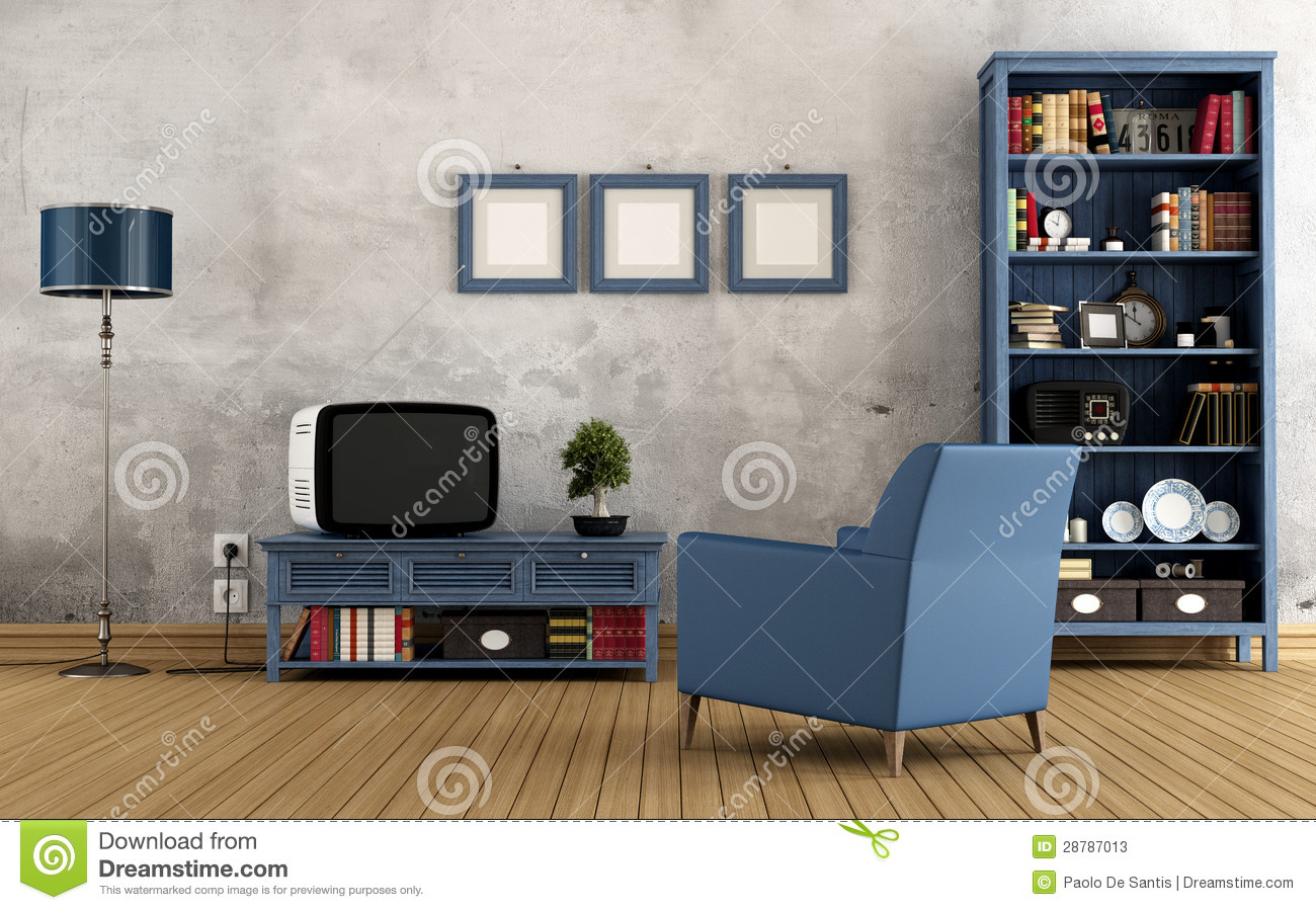 Blue Vintage Interior With Bookcase Armchair And Old Television