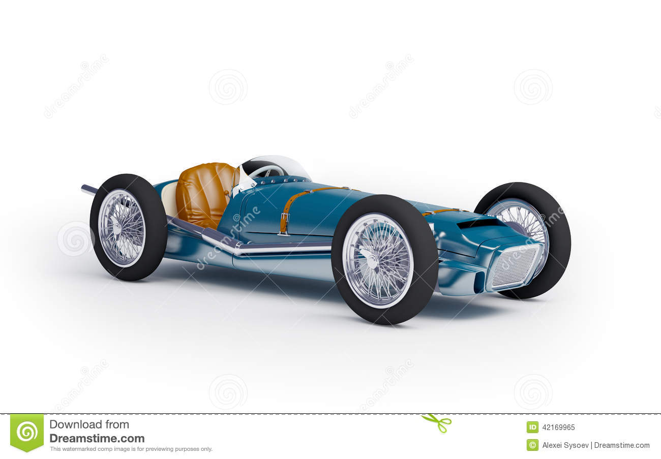 Blue Vintage Racing Car Stock Illustration Image