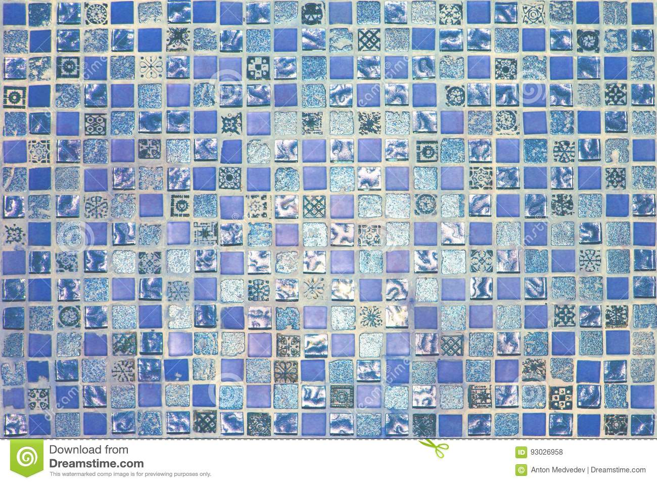 Blue Vintage Small Mosaic Tiles Texture Stock Photo - Image of ...