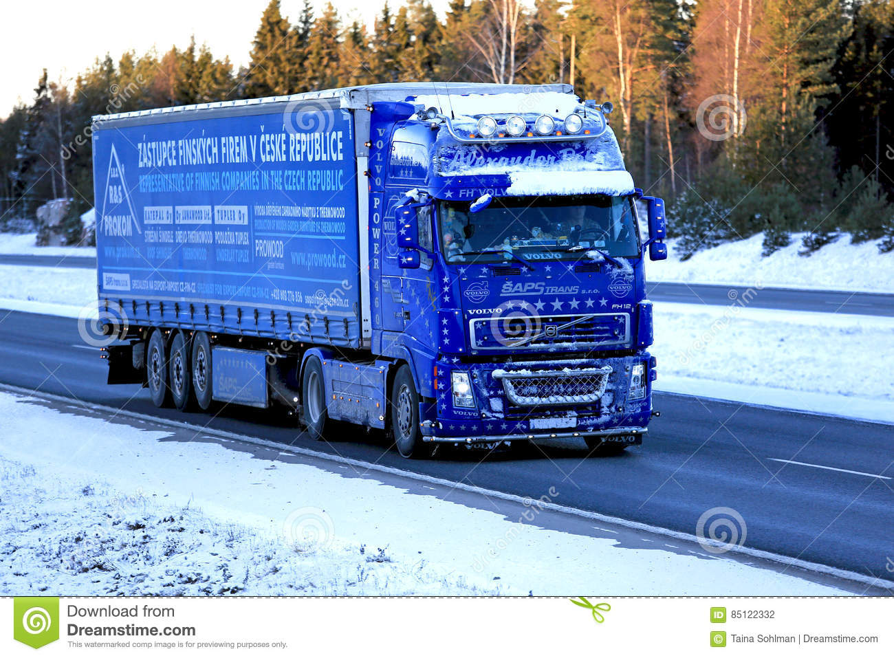 Blue Volvo Fh12 460 Semi Truck Trucking In Snow And Ice Editorial