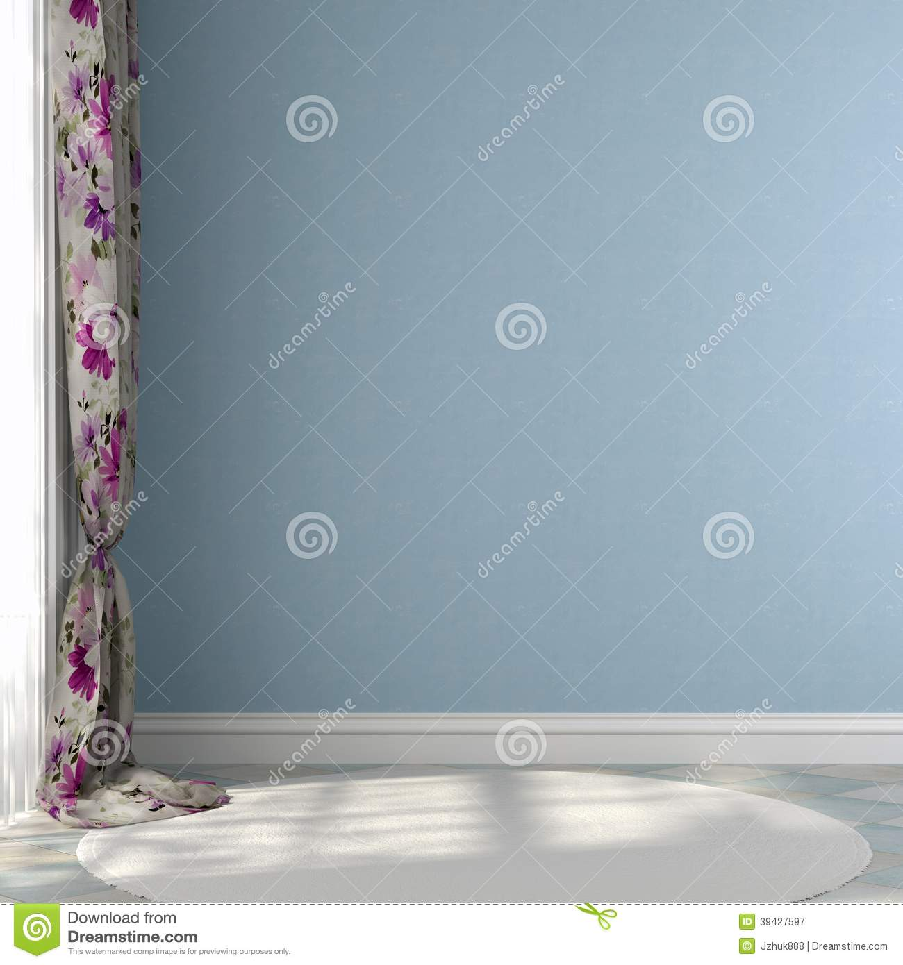 Blue Wall With Colored Curtains Stock Photo Image 39427597