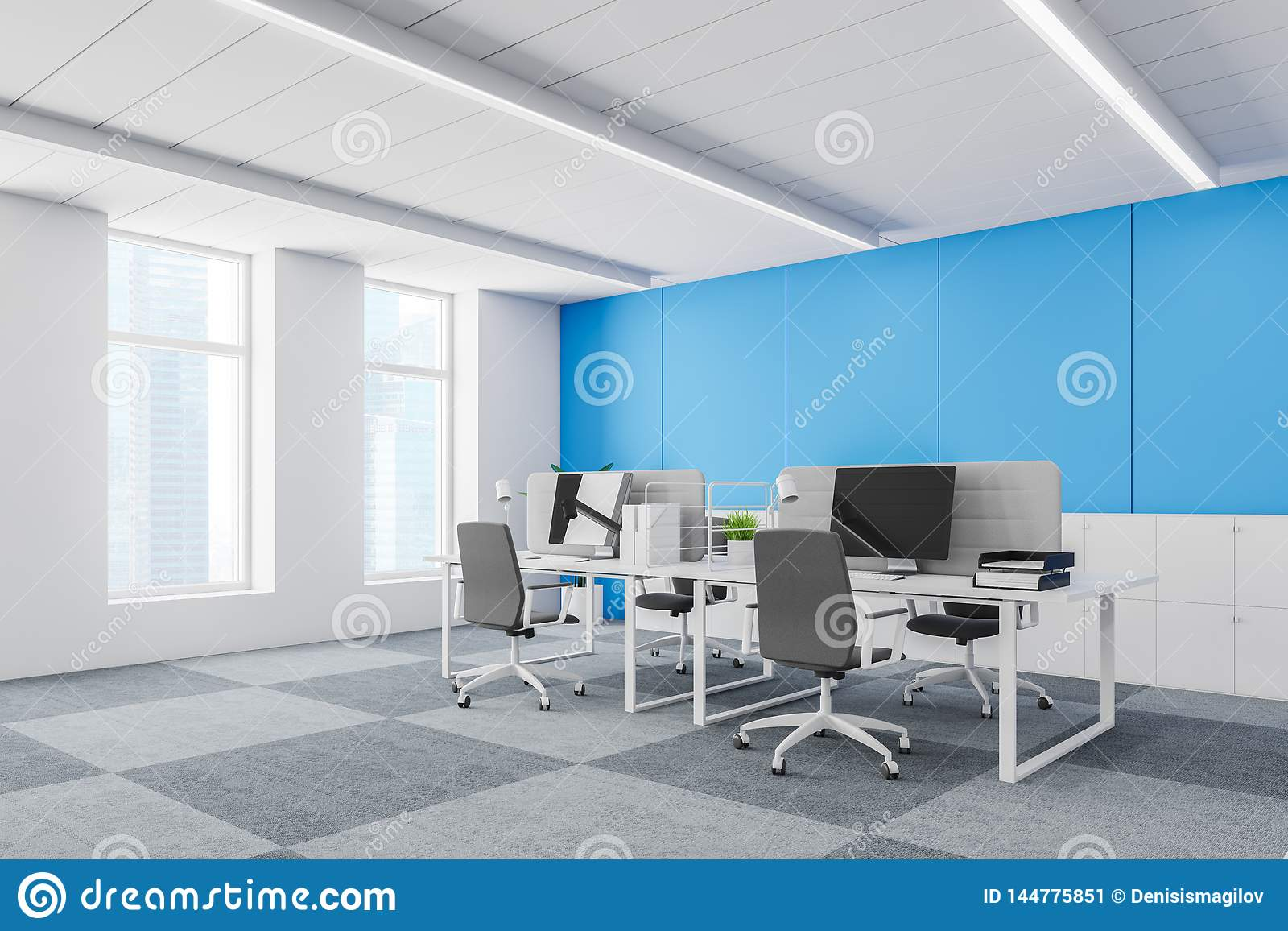 191 & Blue Wall Contracted Office Corner Stock Illustration - Illustration ...