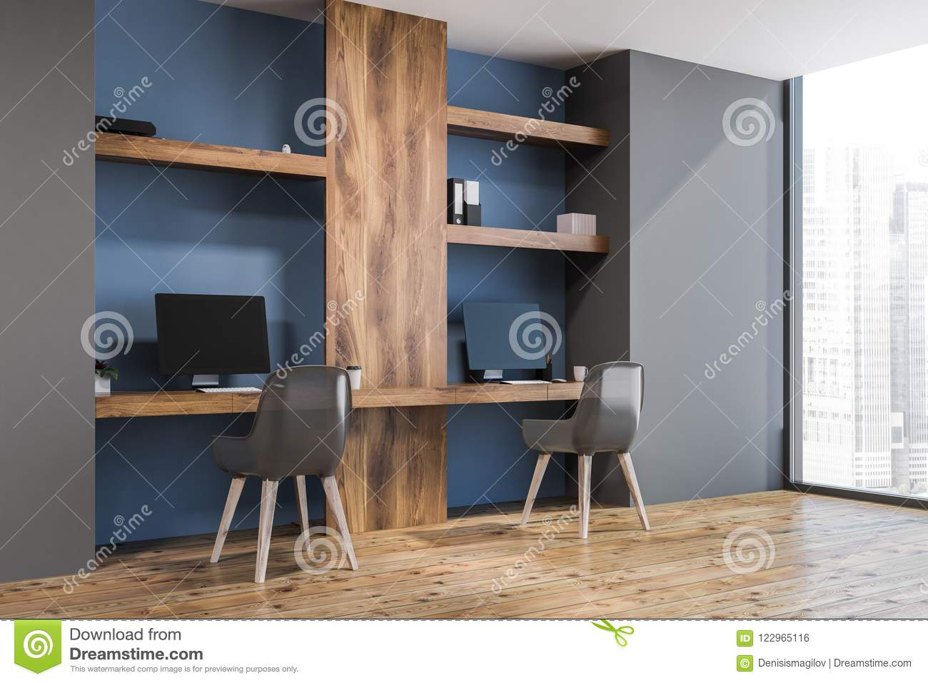 Blue home office wall Light Blue Blue Wall Home Office For Freelance Work Side View Dreamstimecom Blue Wall Home Office For Freelance Work Side View Stock