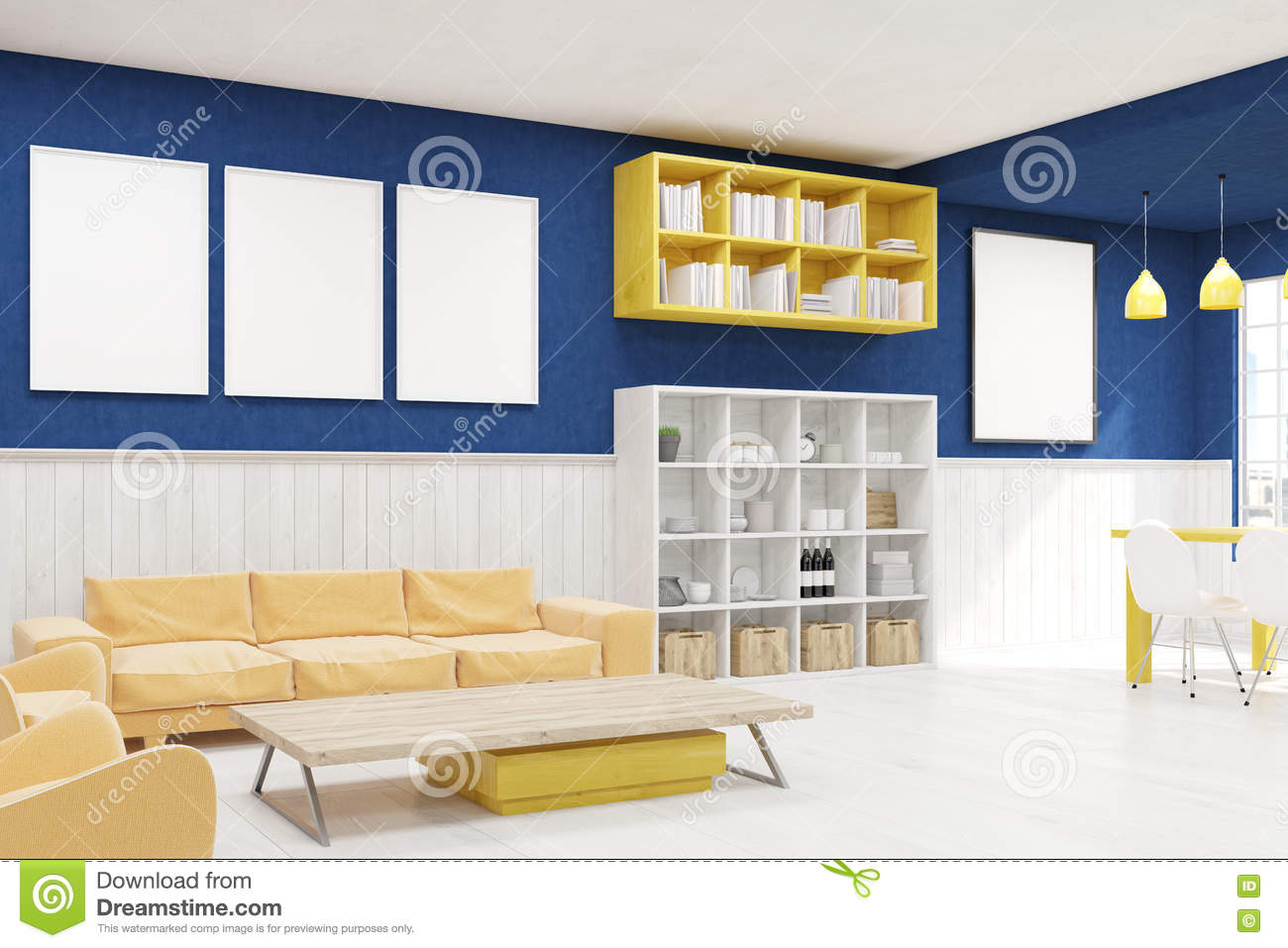 Blue wall living room stock illustration. Illustration of lamp ...