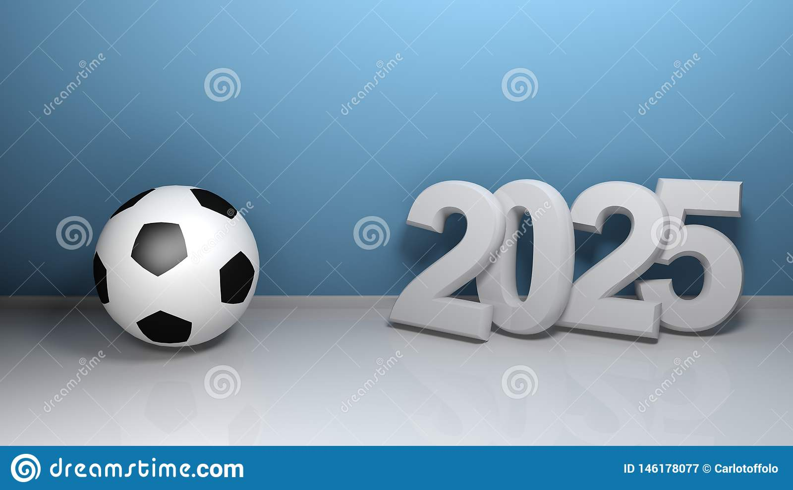 2025 at blue wall with soccer ball - 3D rendering illustration