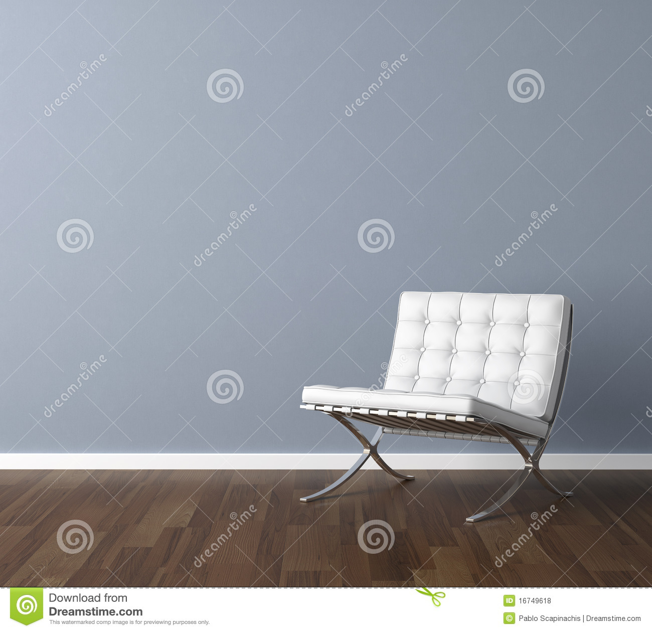 Interior design scene with a modern white chair and lamp on blue wall