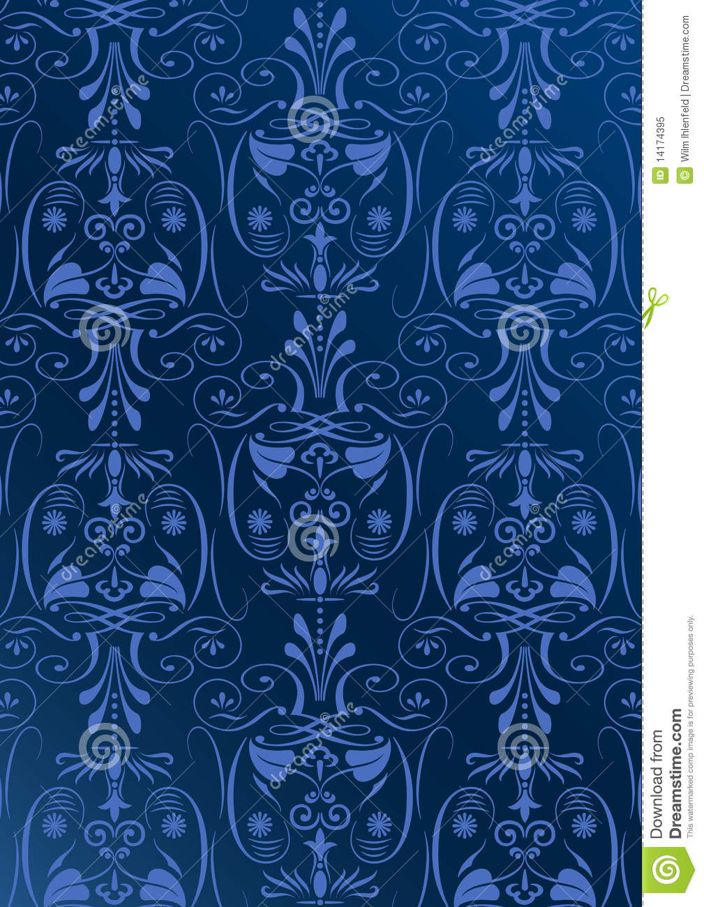Blue Wallpaper With Arabesques Royalty Free Stock Photo ...
