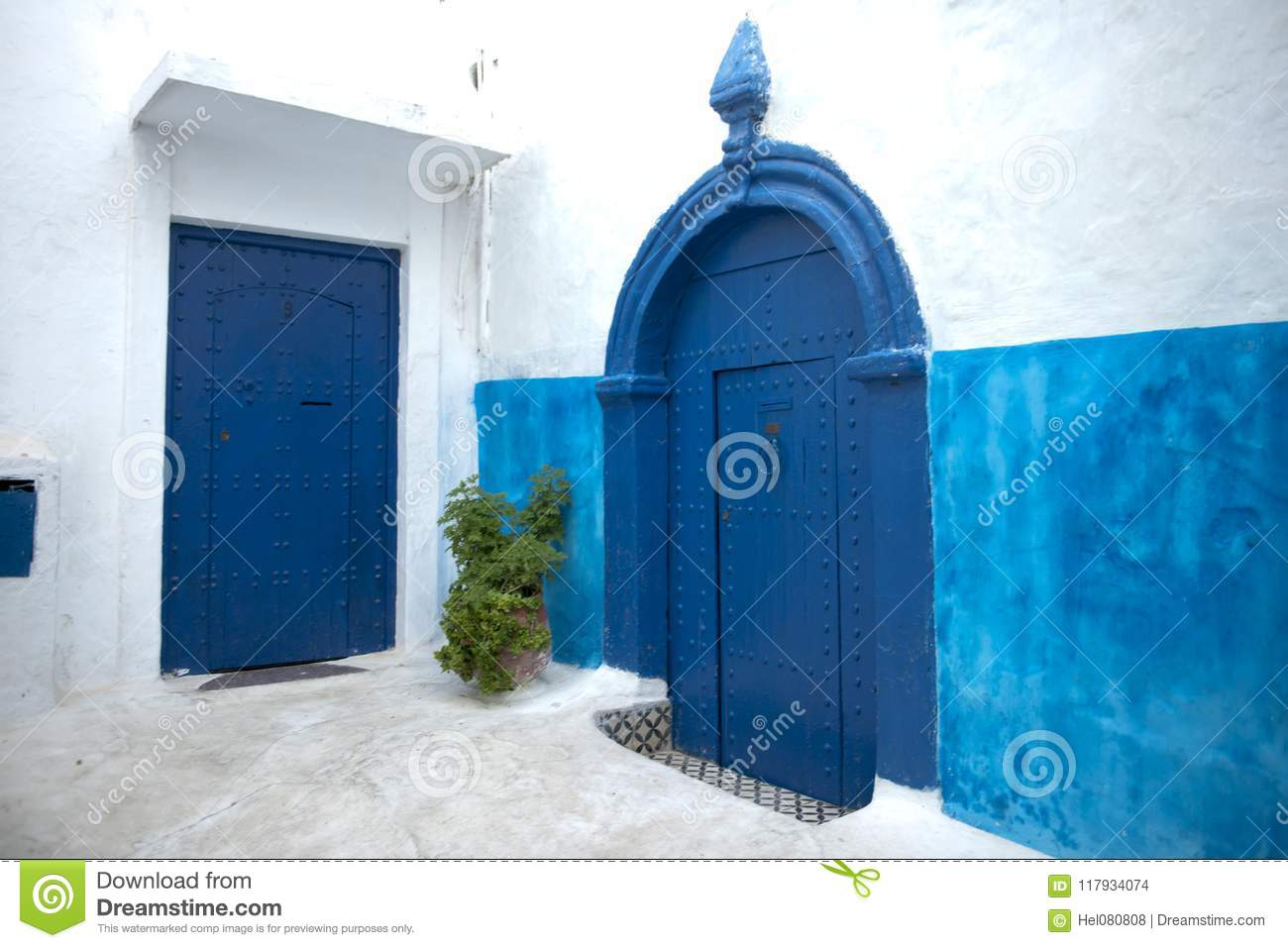 Blue painted doors and walls in Kasbah of the Udayas, Rabat, Morocco