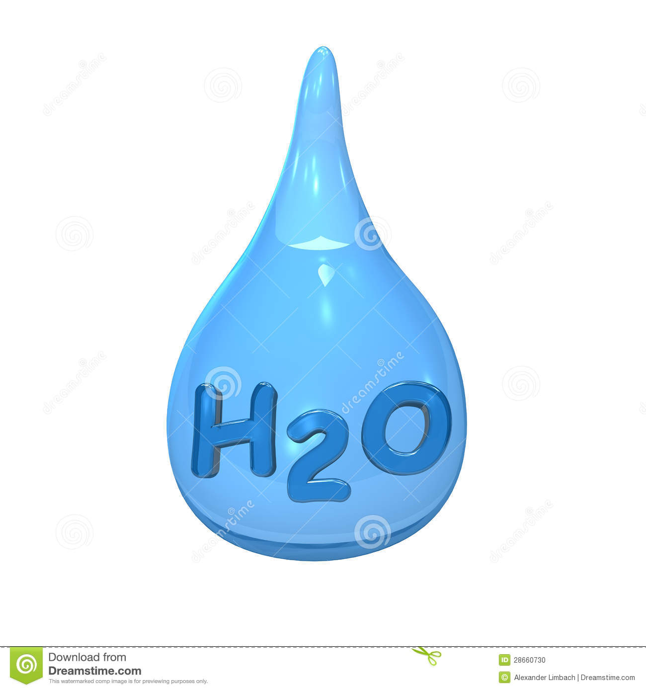 Blue water drop with text H2O on the white background.
