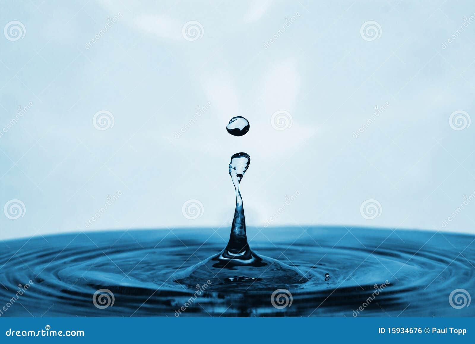 Blue Water Drop Landing in a Pool
