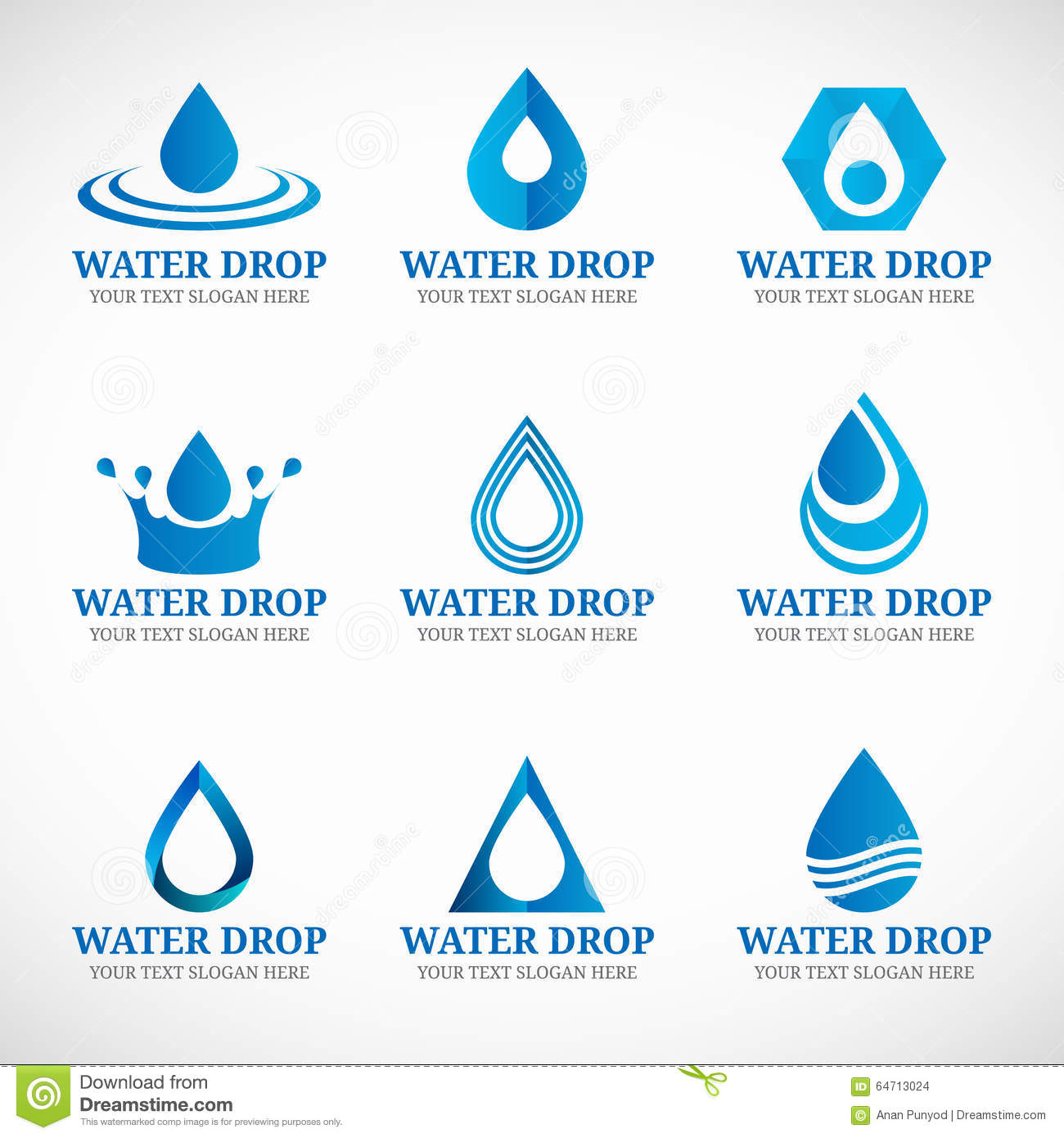 Blue Water Drop Logo Vector Set Design Stock