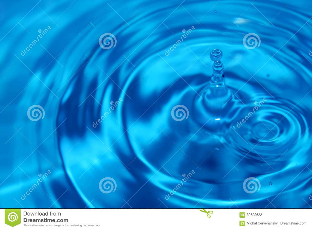 Blue water drop with waves on the surface. Second