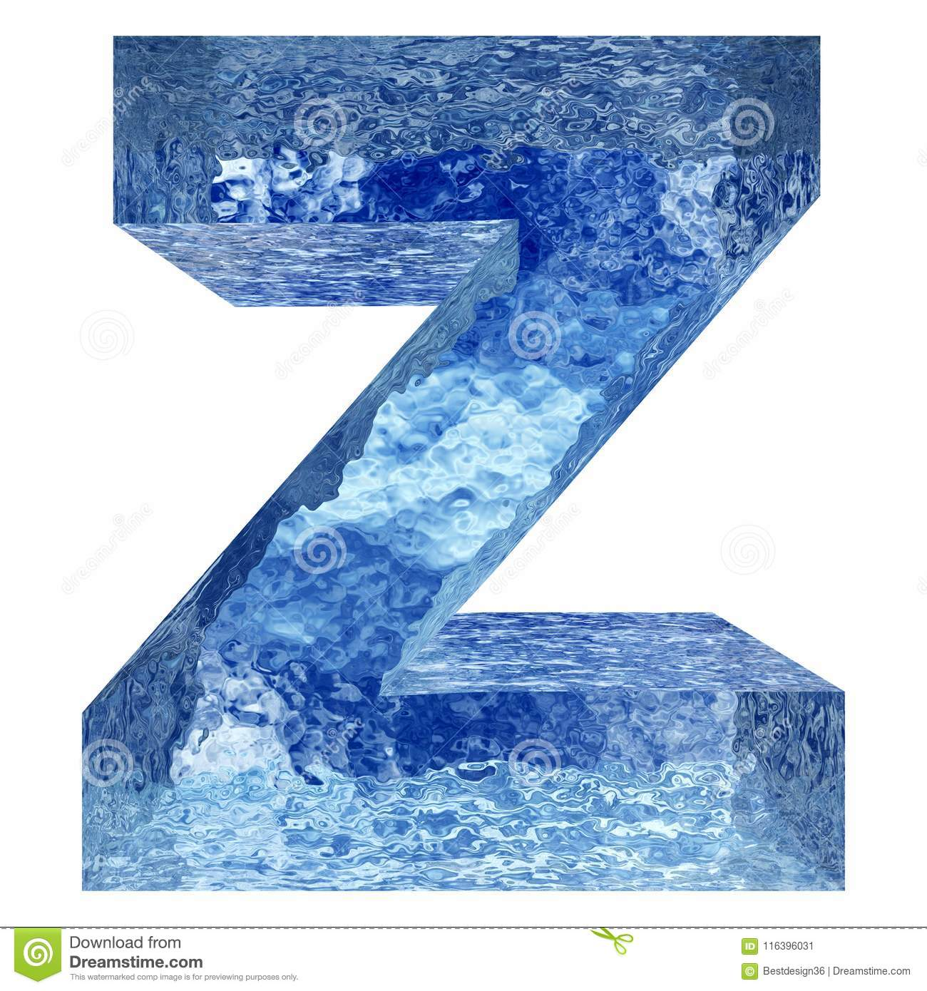 Blue water or ice font part of colletion