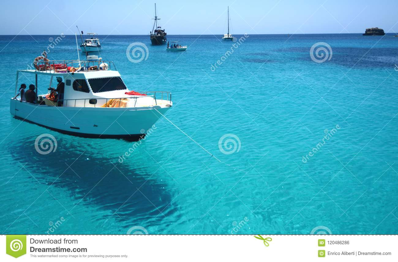 Blue water in the sea of Lampedusa