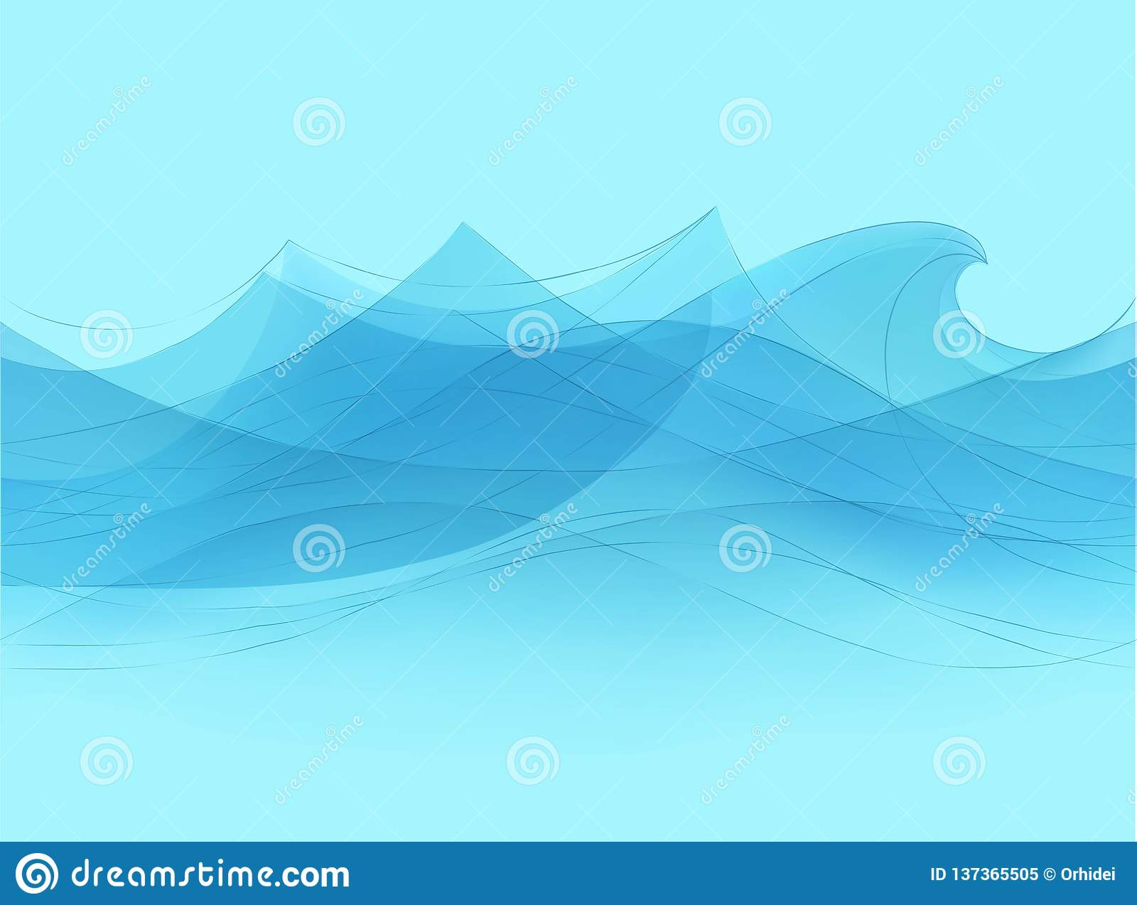 Blue Water Sea Waves Abstract Vector Background Water Wave