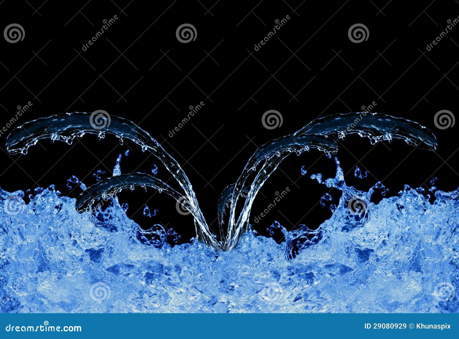 Blue water splashing on black