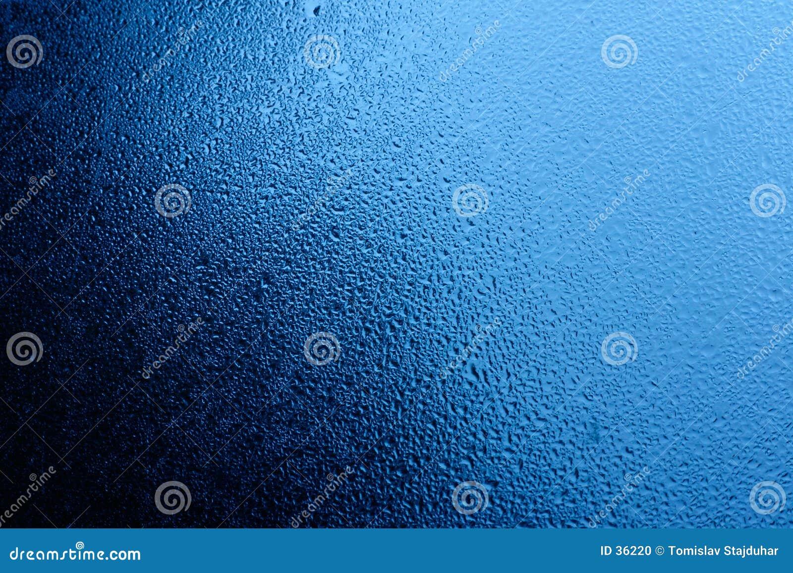 Blue water on window