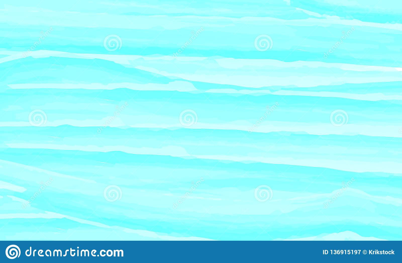 Blue Watercolor Abstract Background Clouds Sky Sea Waves