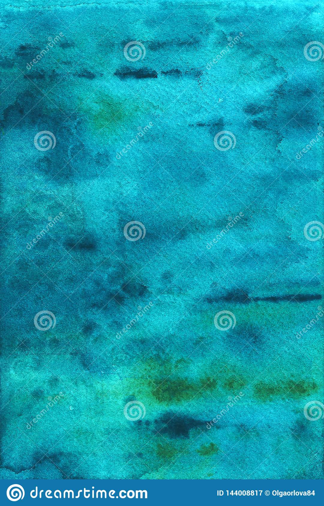 Blue watercolor background. Marine texture, turquoise.