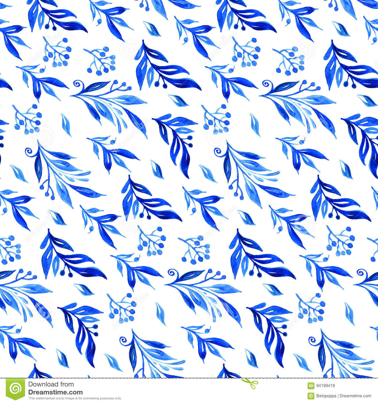 Blue Watercolor Branches And Buds Seamless Pattern Stock Image