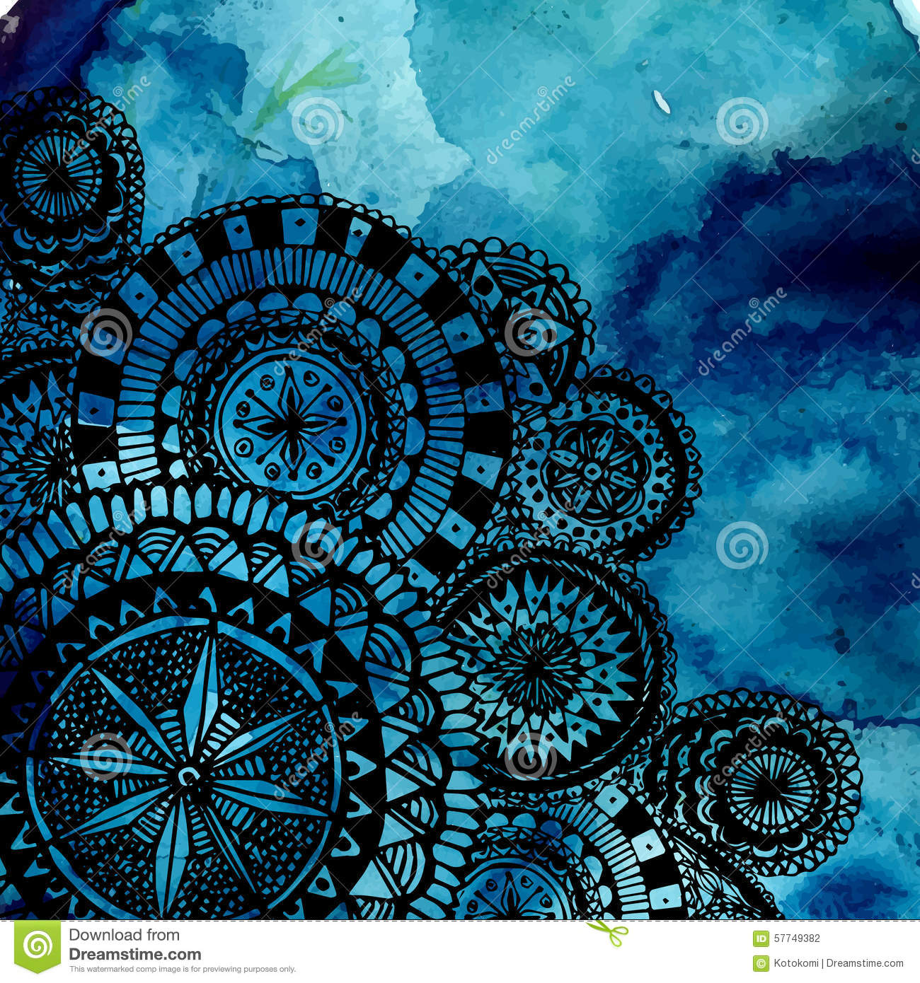 Blue Watercolor Brush Strokes With Black Hand Stock Vector
